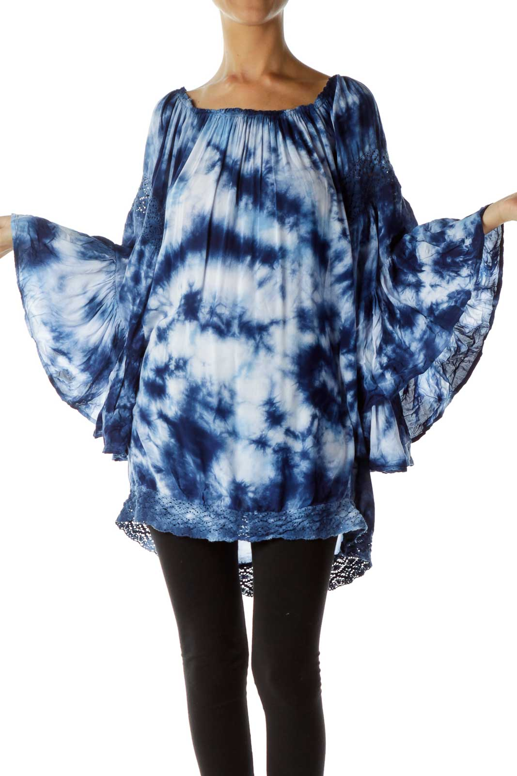 Blue Tie-Dye Off-Shoulder Top Front