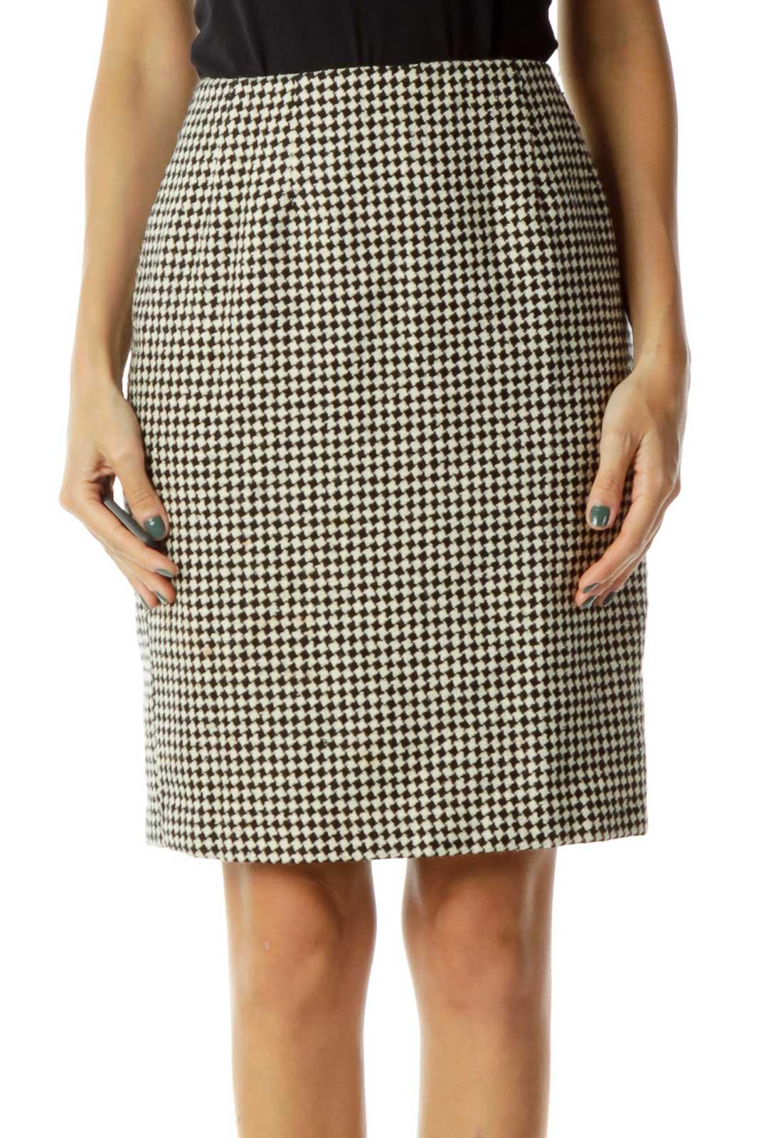 Beige Black Houndstooth Pencil Skirt Front