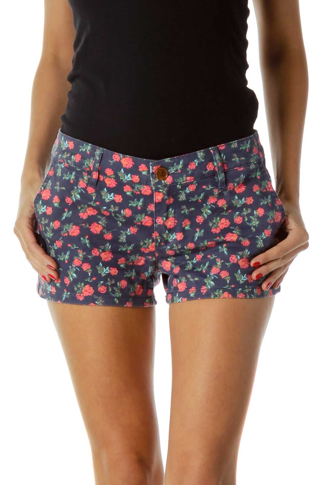 Blue Pink Floral Shorts Front
