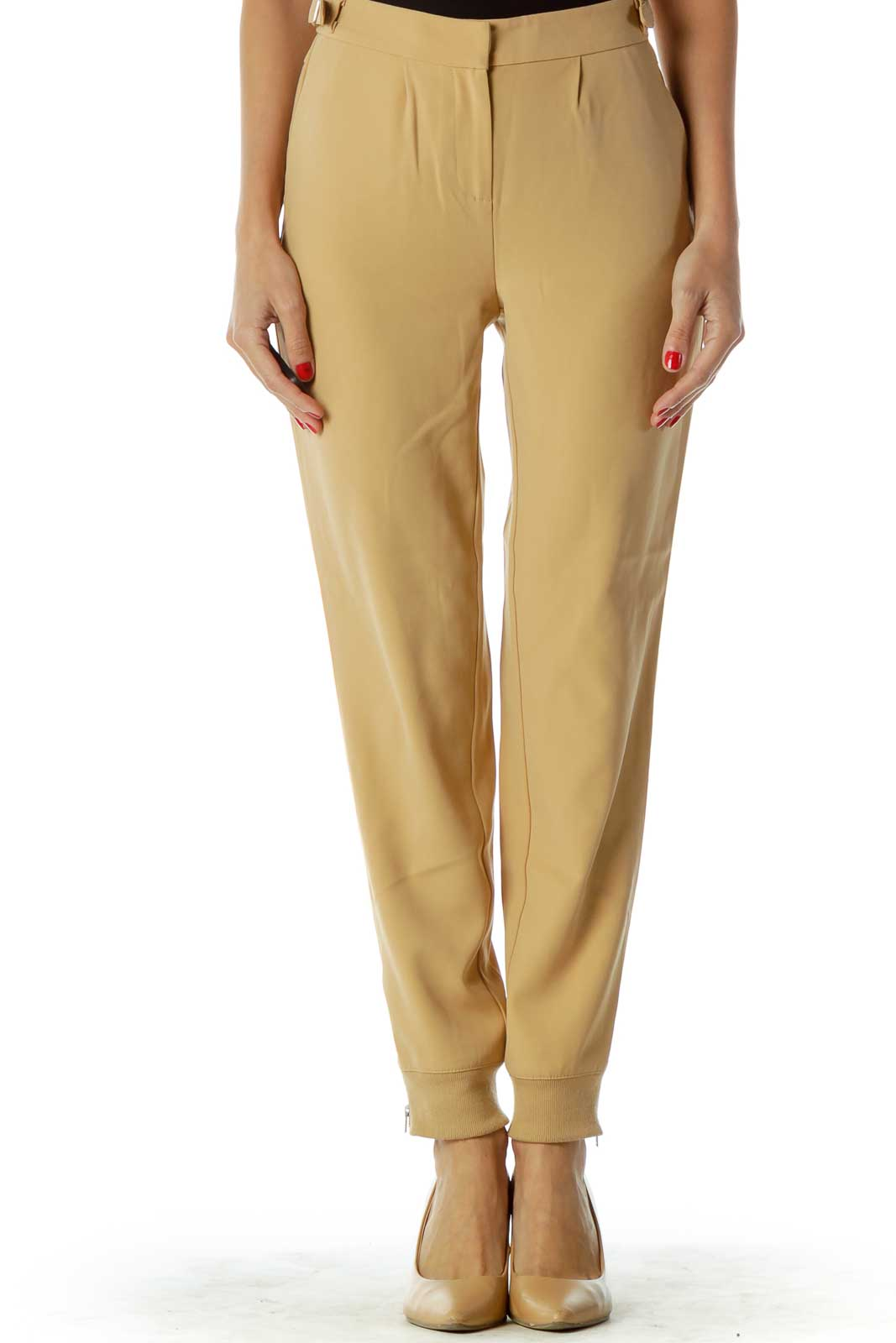Beige Tapered Belted Pants Front