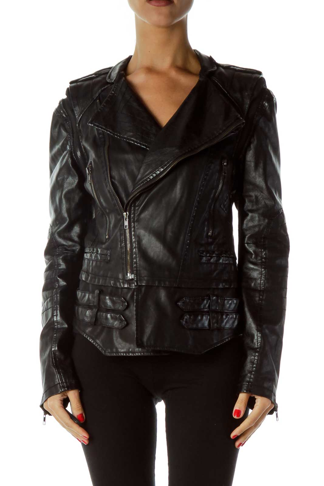 Black Convertible Faux-Leather Jacket Front