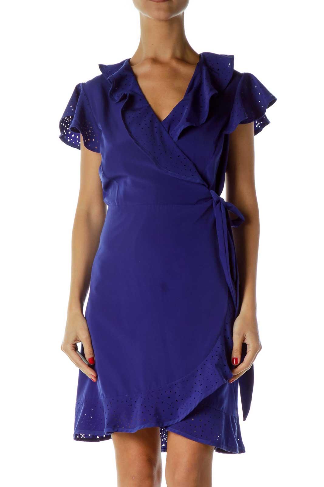 Blue Eyelet Wrap Cocktail Dress Front