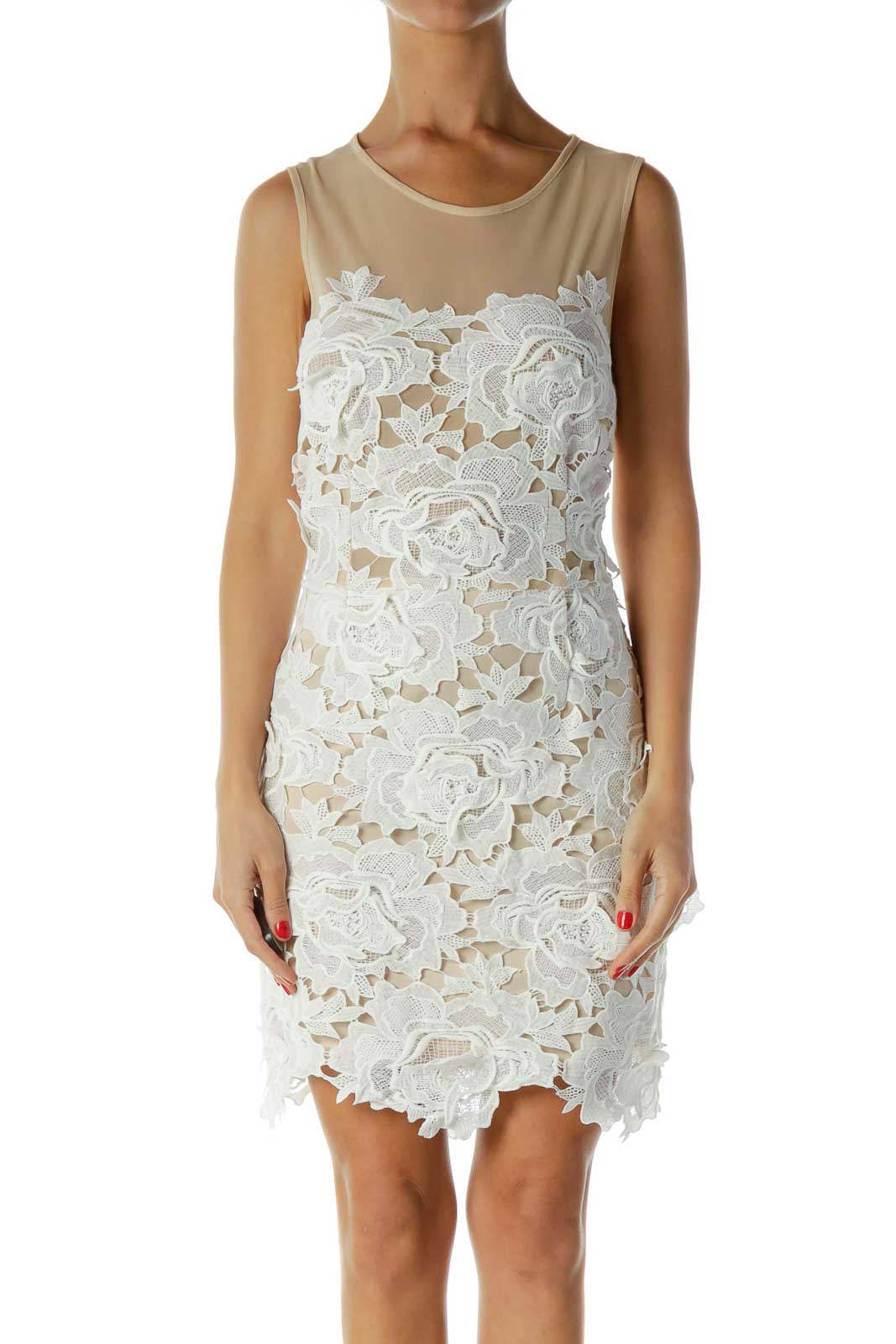 White Beige Lace Dress Front