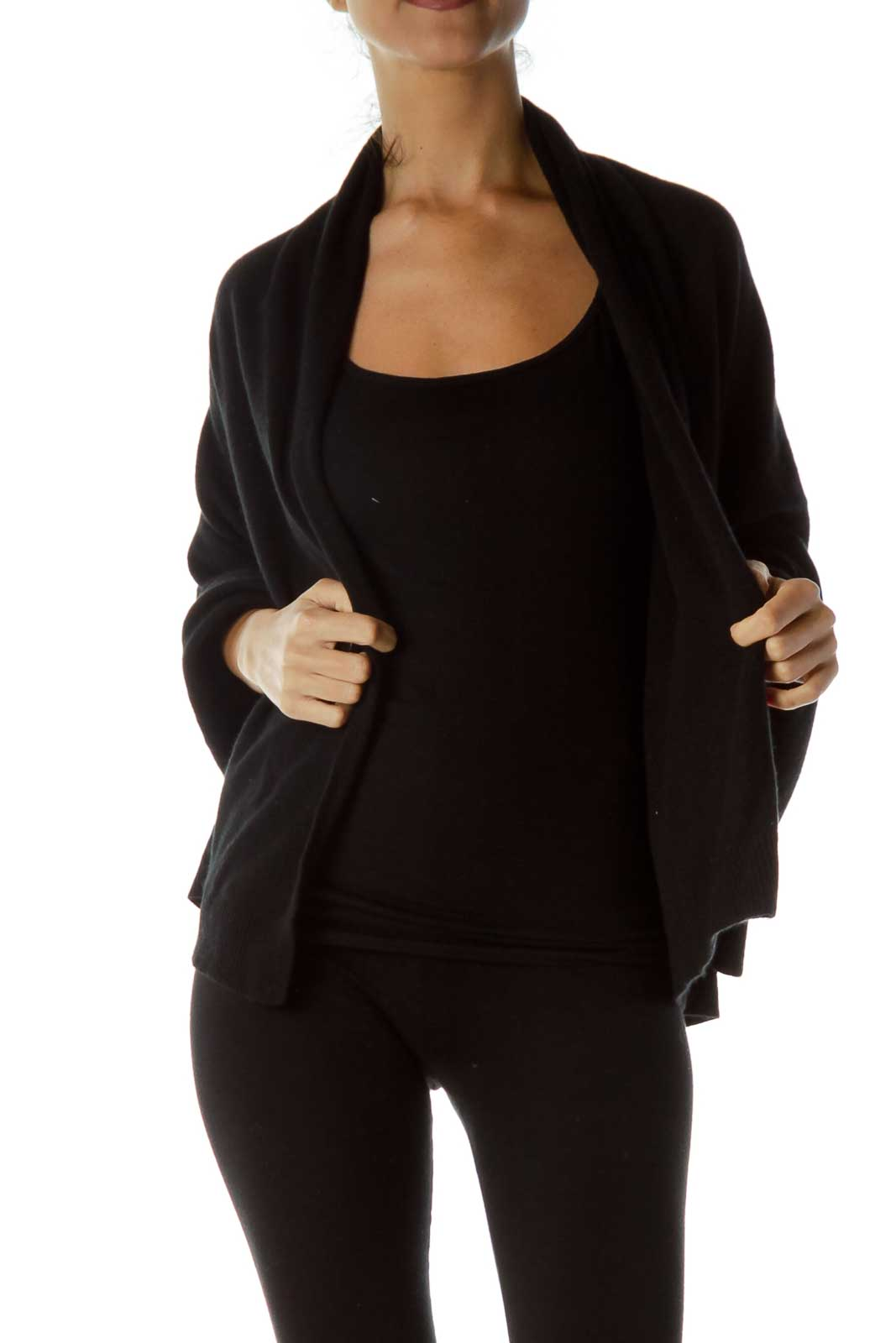 Black One Size Cashmere Cape Front