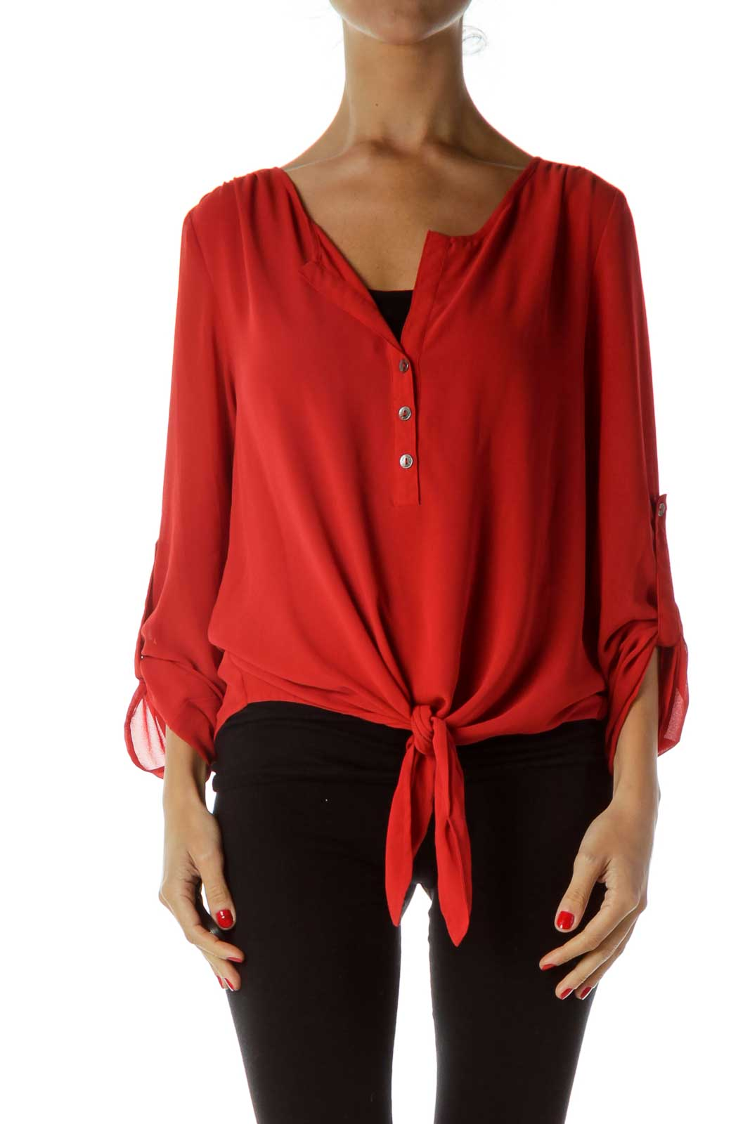 Red Buttoned Cropped Blouse Front