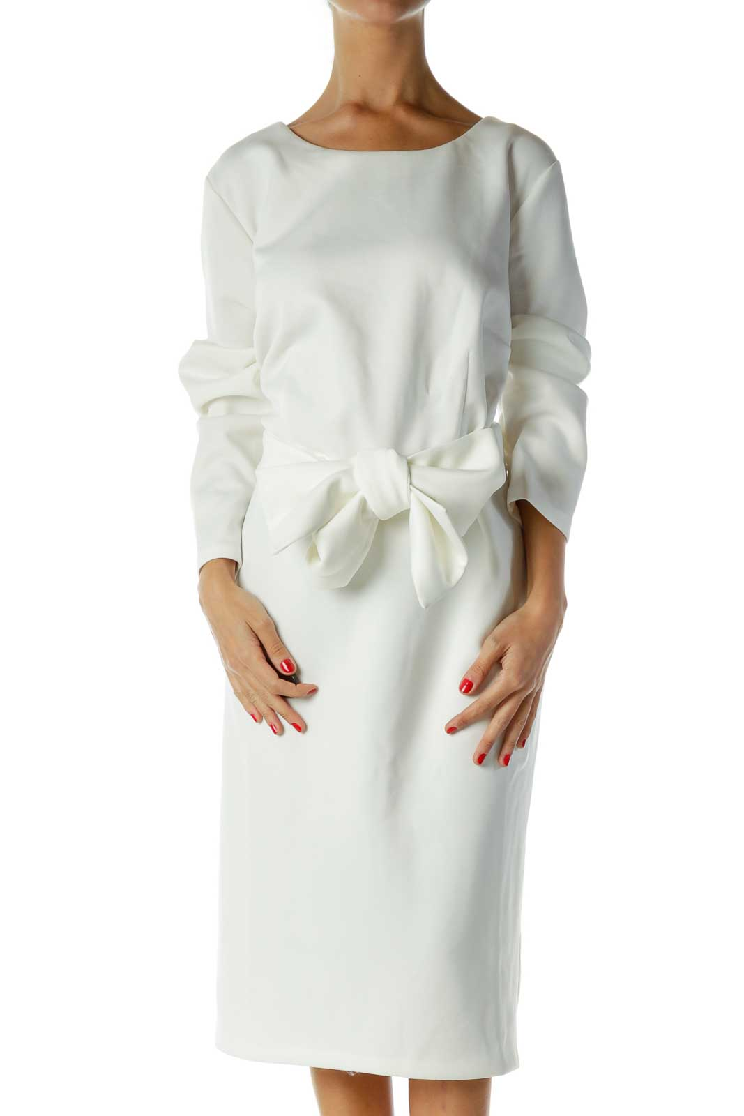 Cream Shift Dress Front