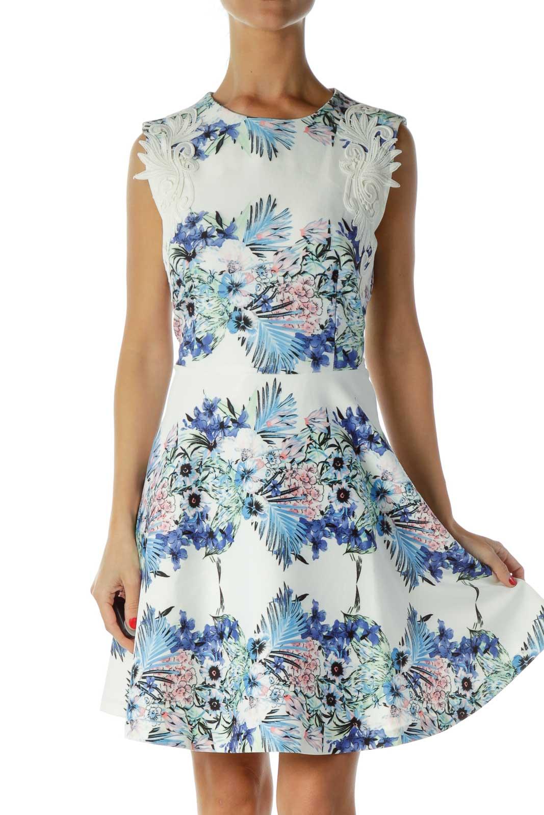 White Blue Floral Print Cocktail Dress Front