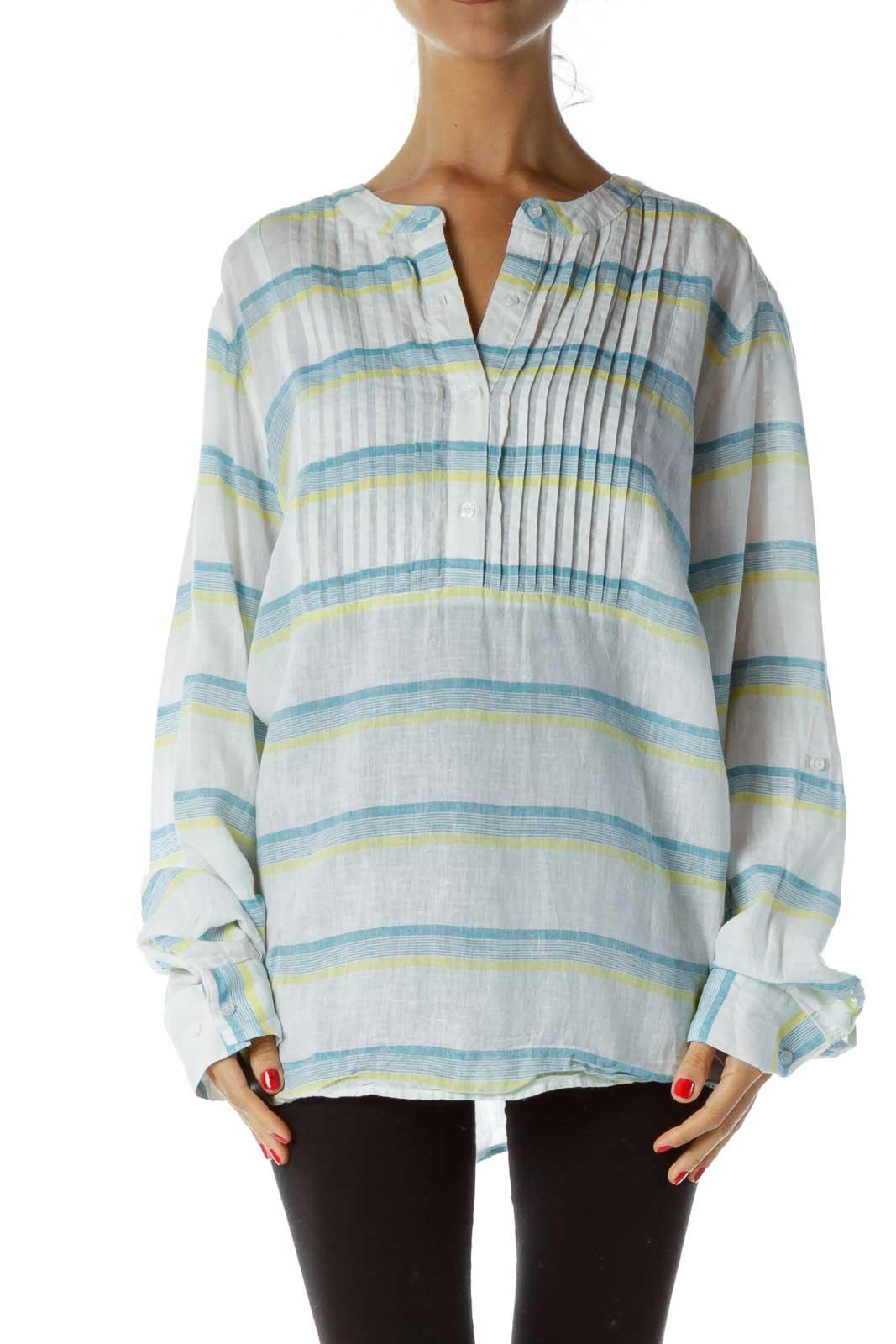 White Blue Striped Linen Shirt Front