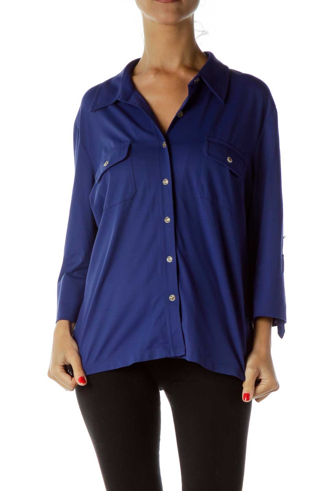 Blue Buttoned Shirt Front