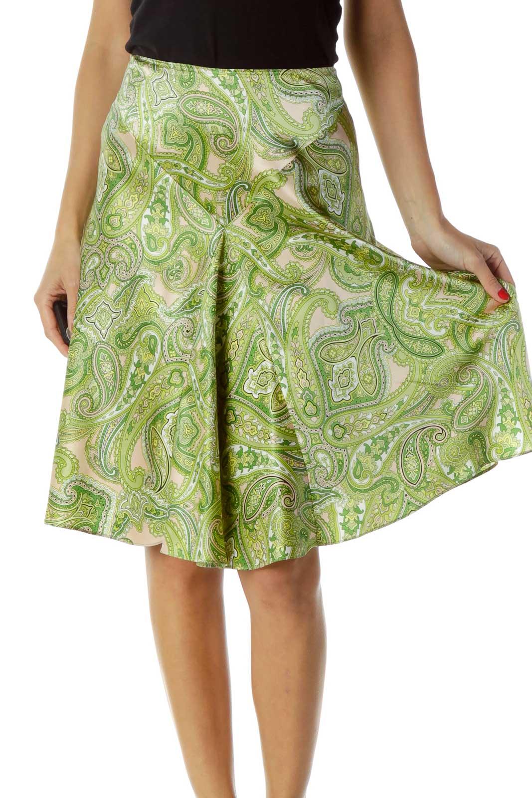 Green Paisley Print Silk Skirt Front