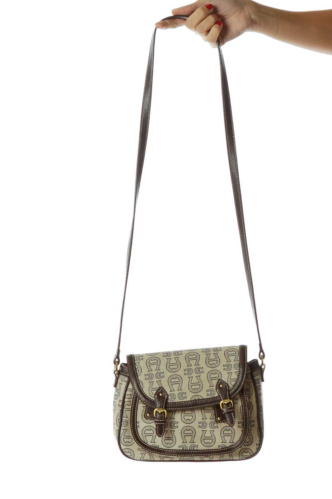 Brown Beige Monogrammed Crossbody Bag Front