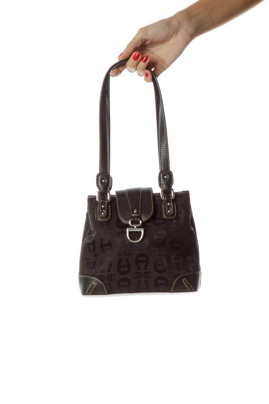 Black Monogrammed Leather Shoulder Bag Front