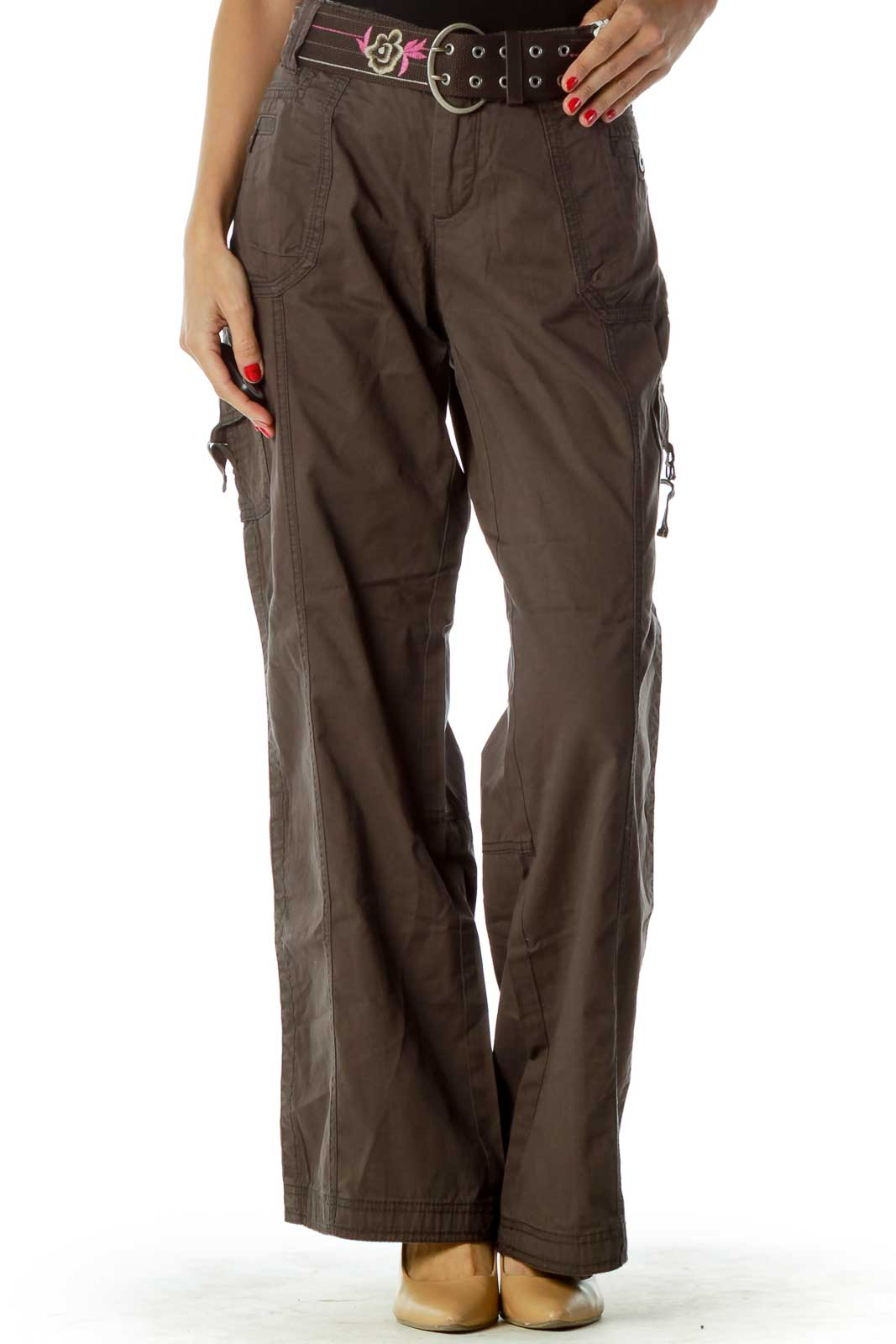 Brown Cargo Belted Pants Front