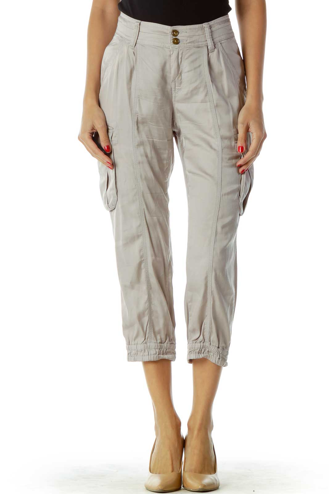 Gray Cargo Cropped Pants Front