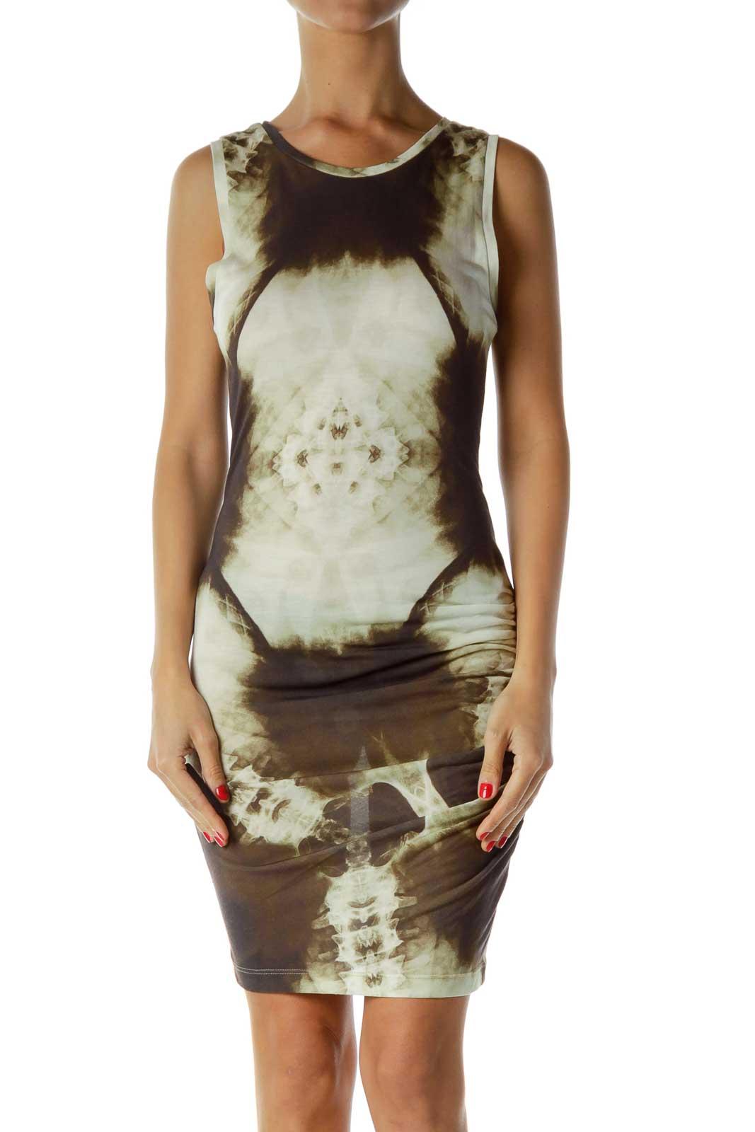 Brown Cream Tie Dye Dress Front