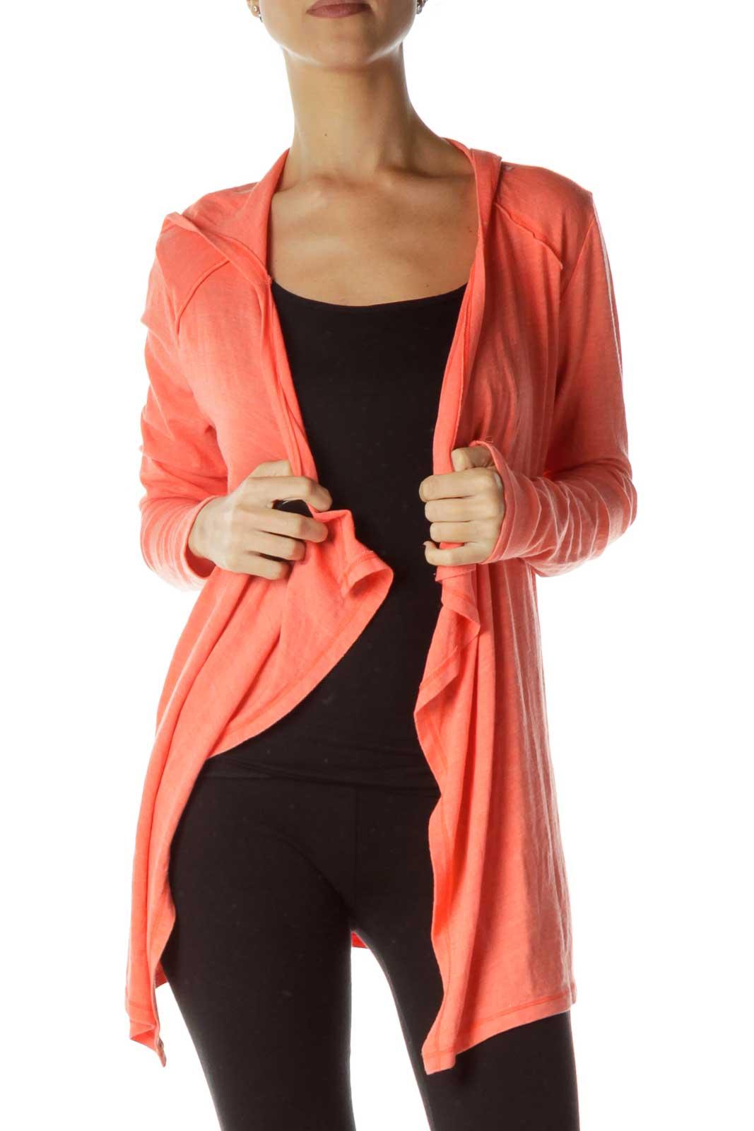 Orange Hooded Cardigan Front