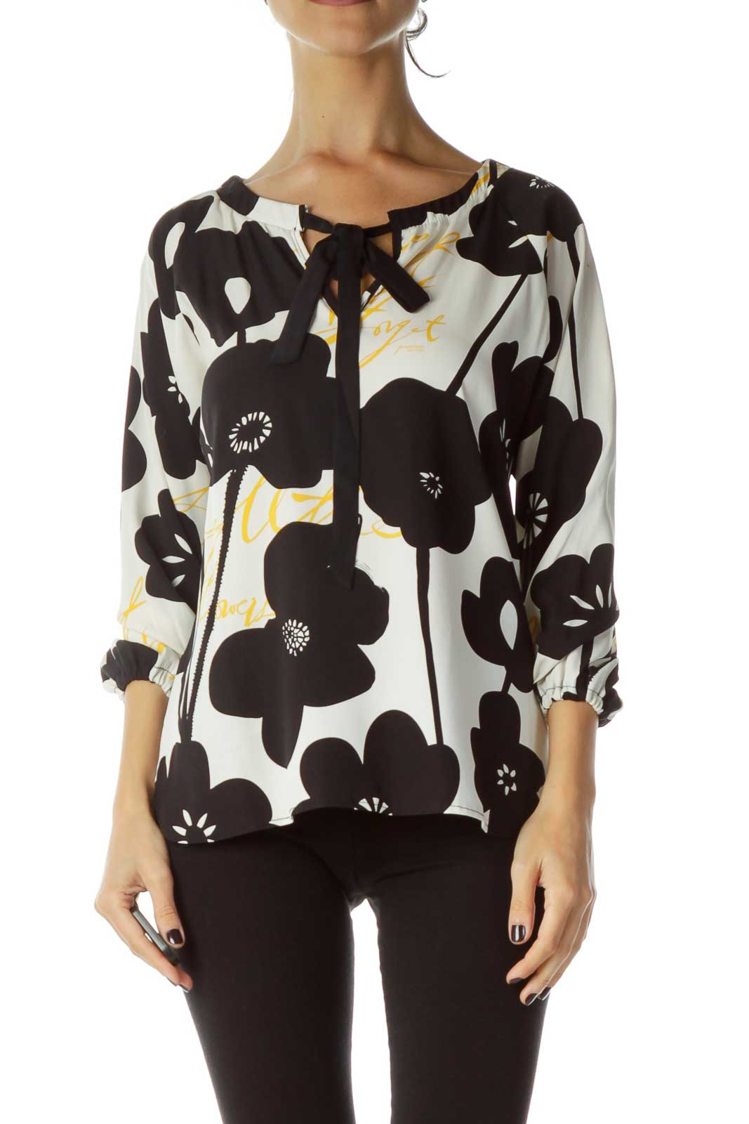 Black White Patterned Blouse Front