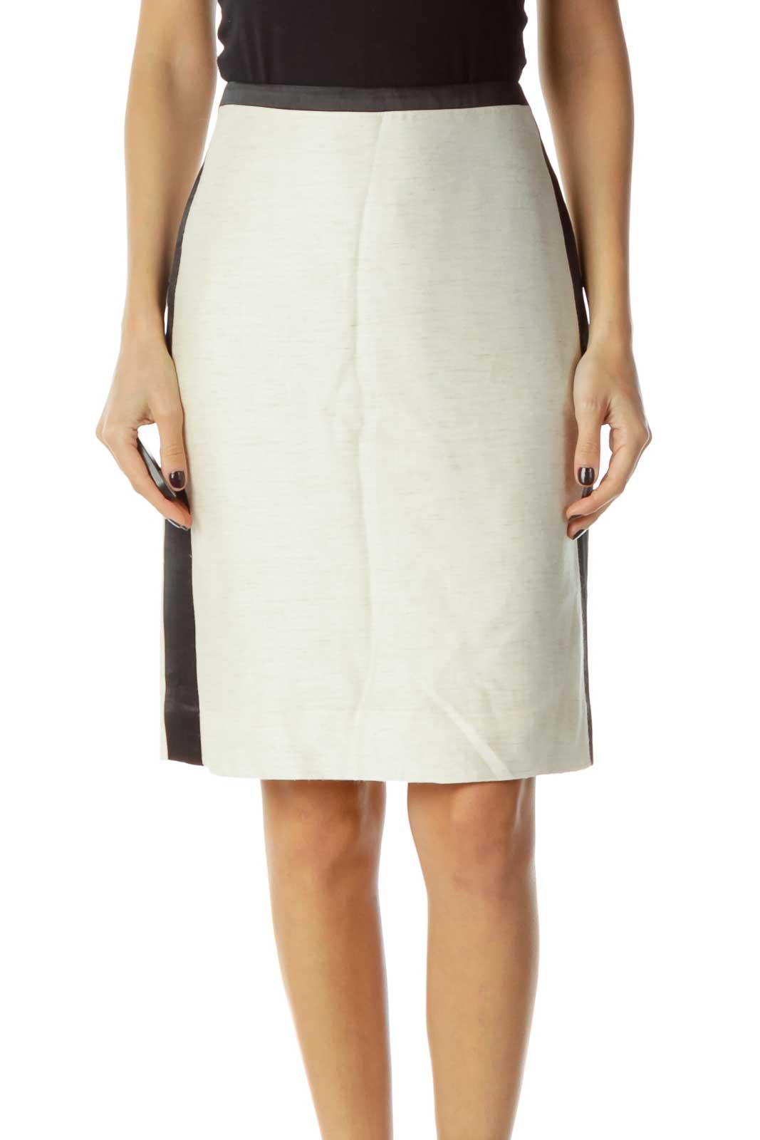Cream Pencil Skirt Front
