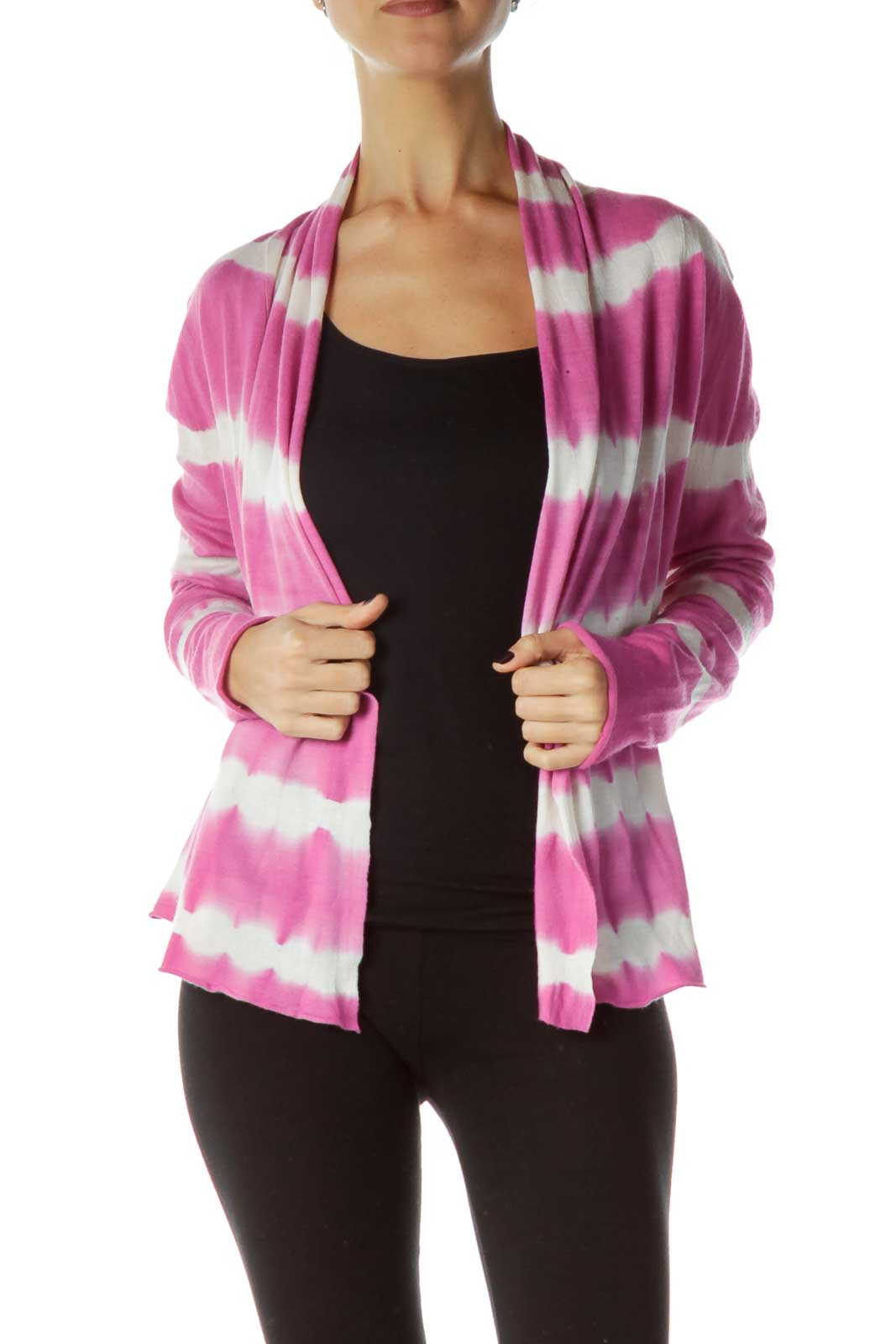 Pink White Cardigan Front