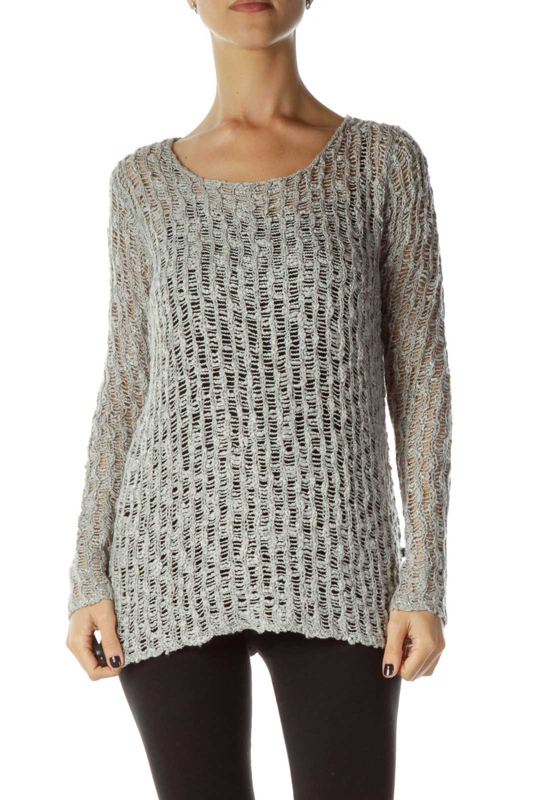 Gray Knit Sweatshirt Front