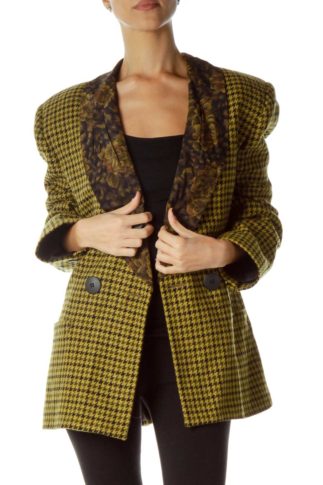 Yellow Black Houndstooth Suit Front
