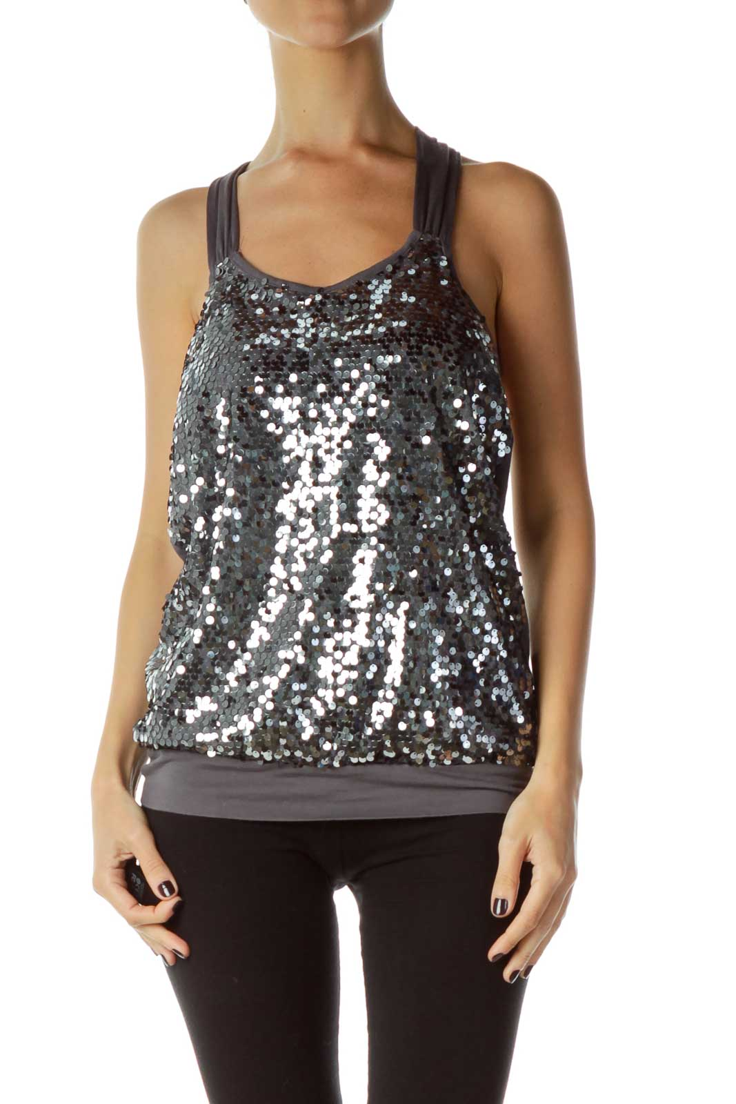 Gray Sequined Racerback Tank Front