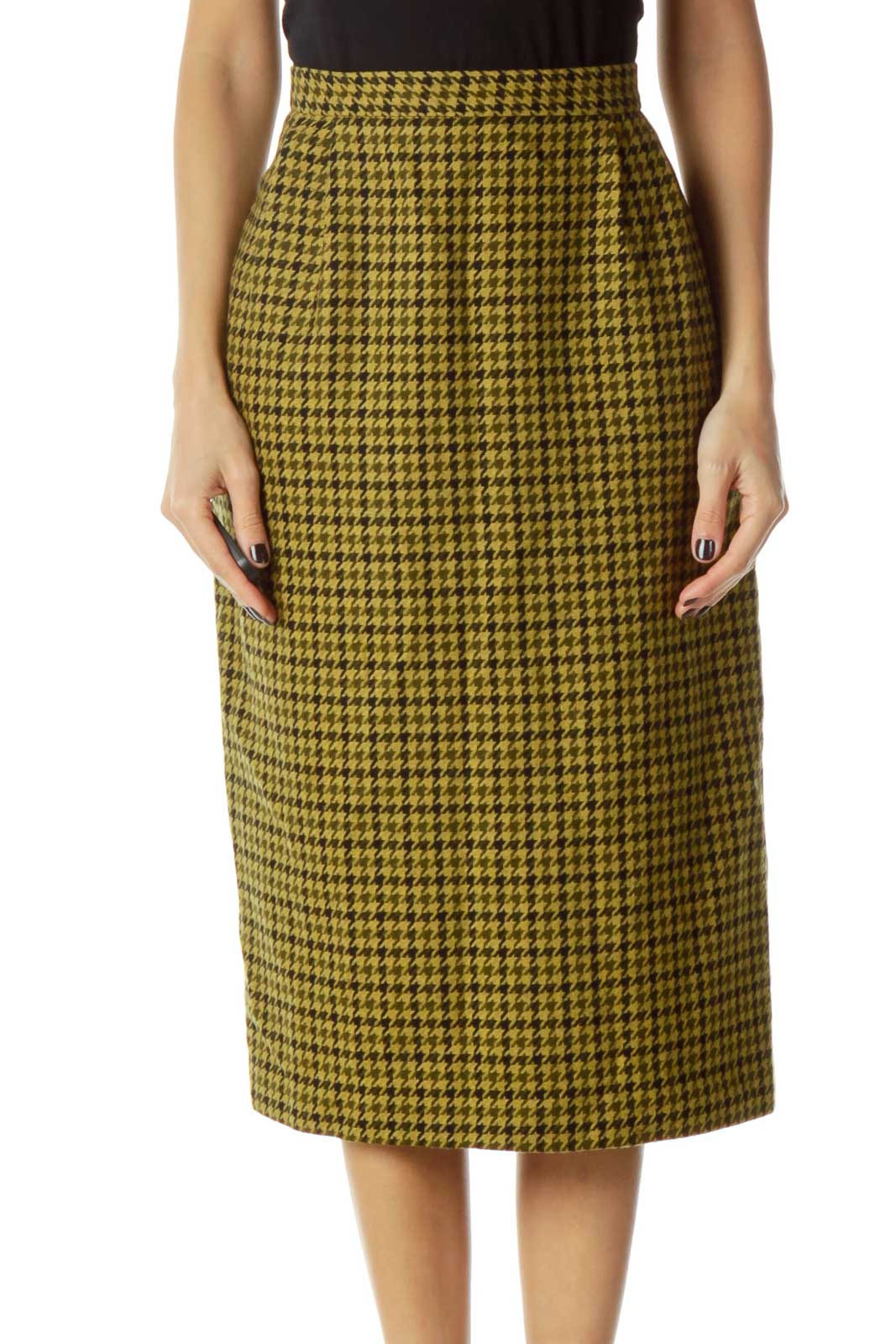 Yellow Black Pencil Skirt Front