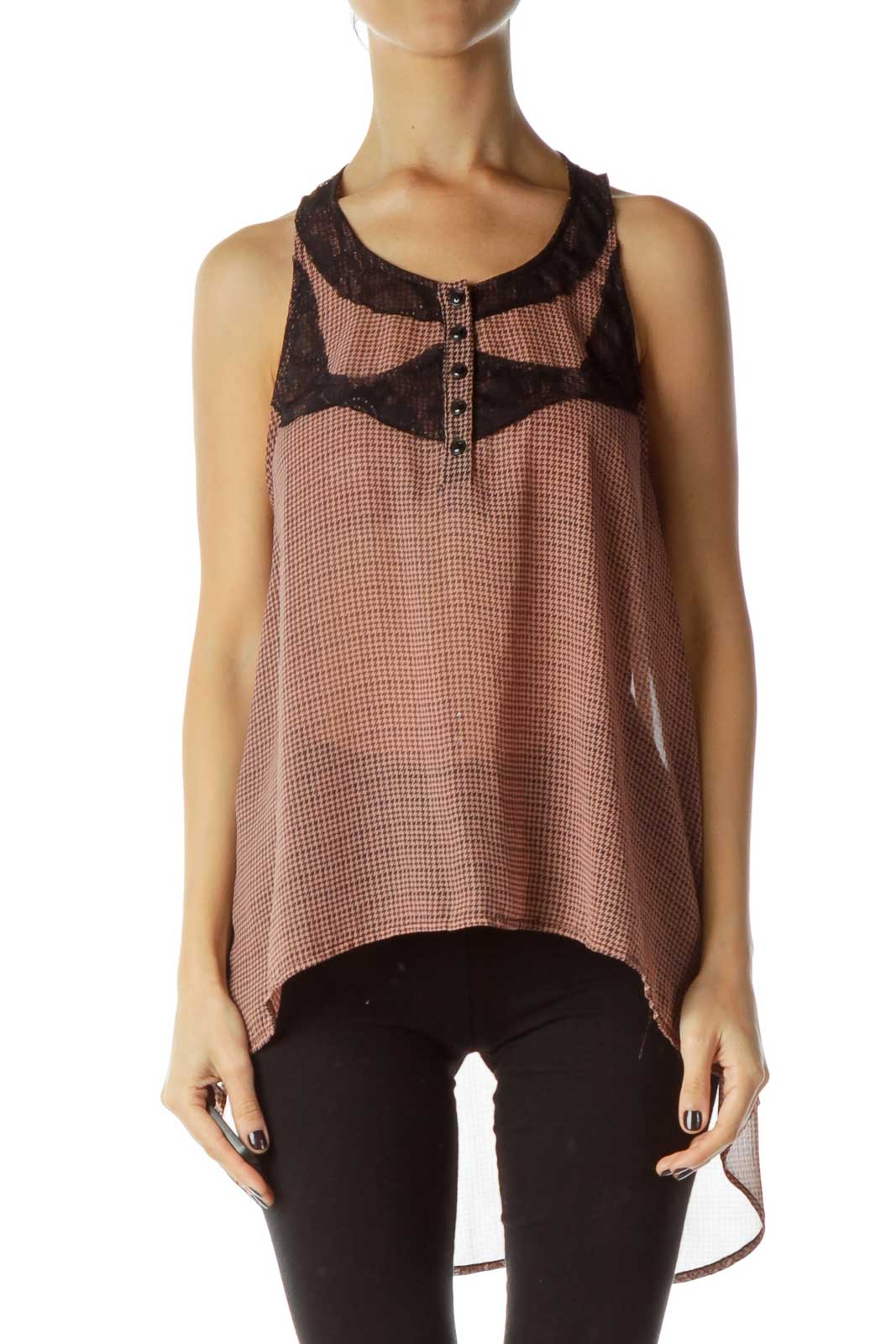 Pink Black High-Low Tank Front