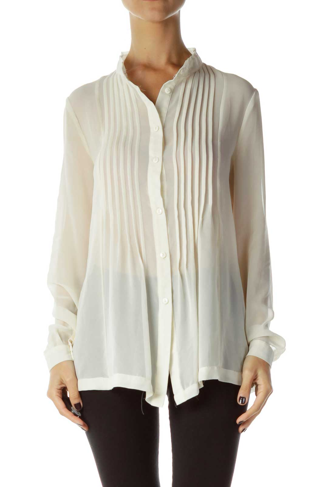 Cream Sheer Button Up Shirt Front
