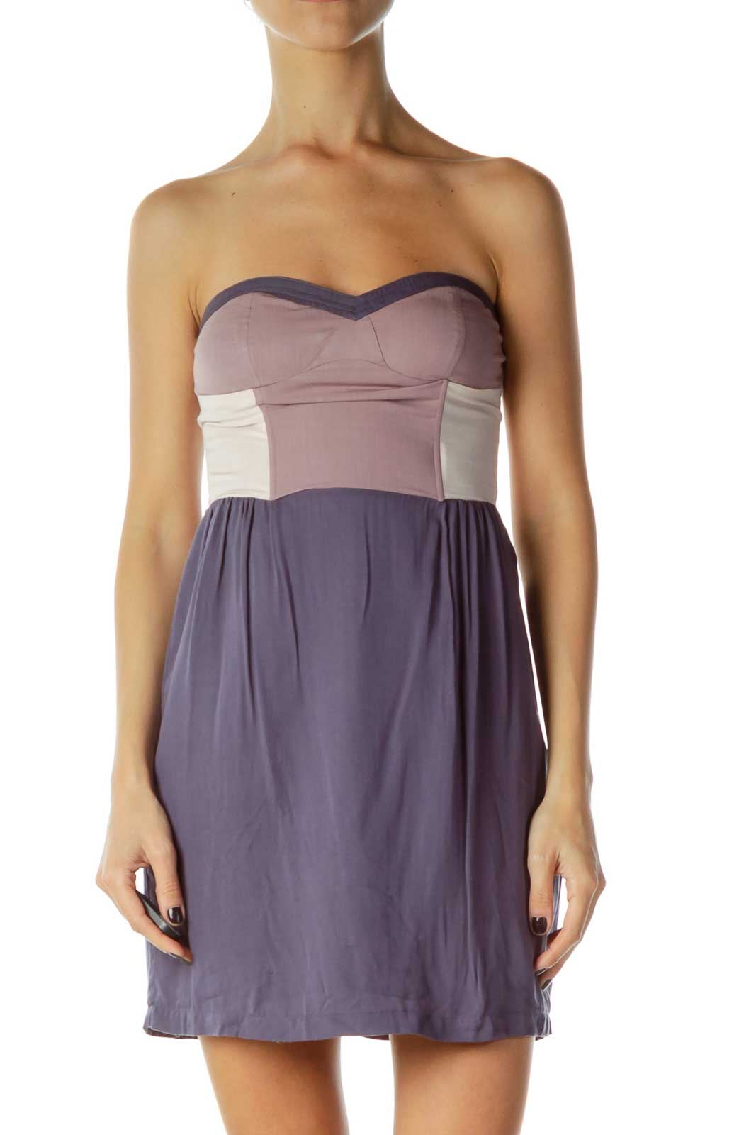 Purple Strapless Dress Front