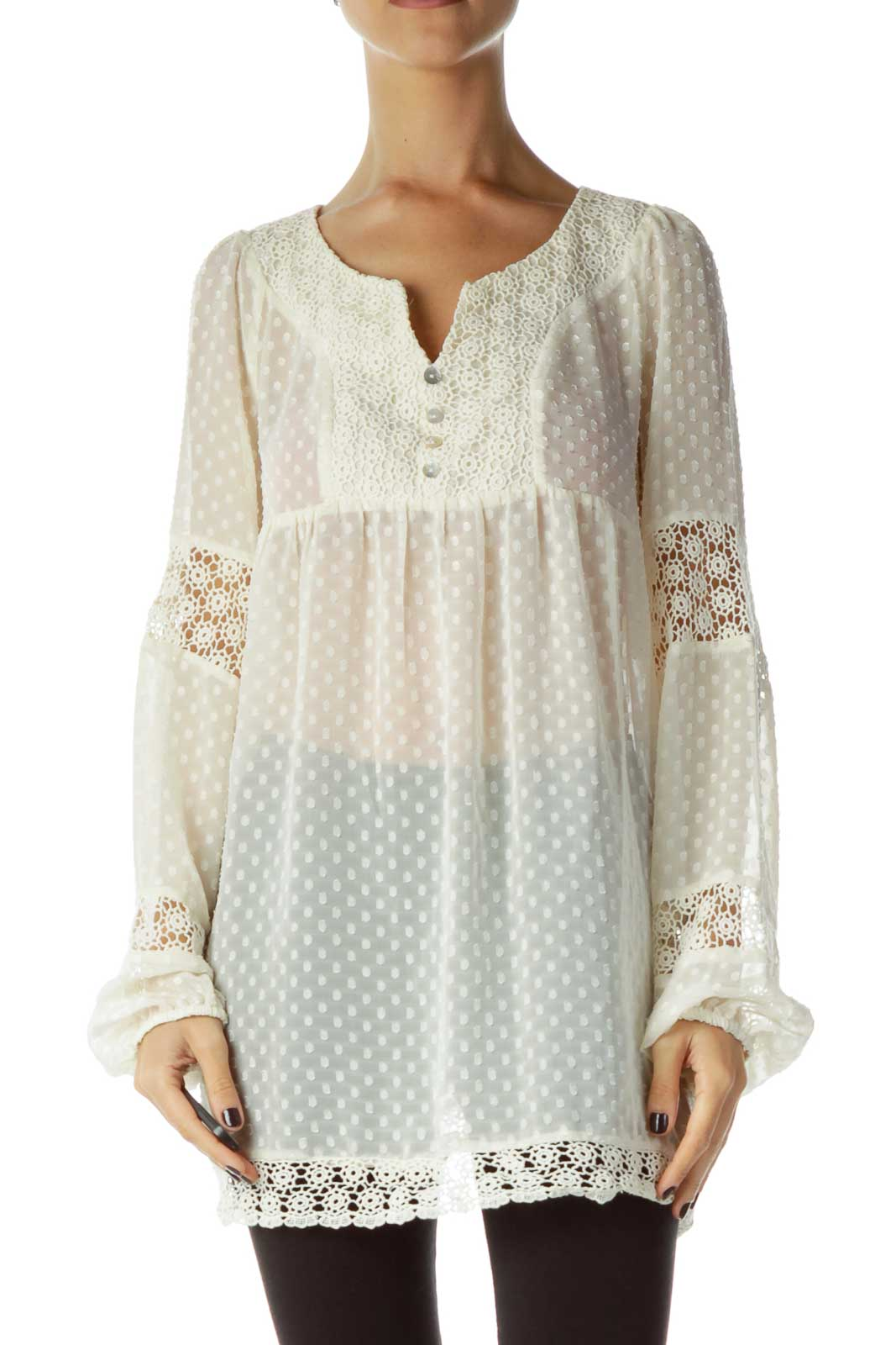 Cream See-through Crocheted Blouse Front