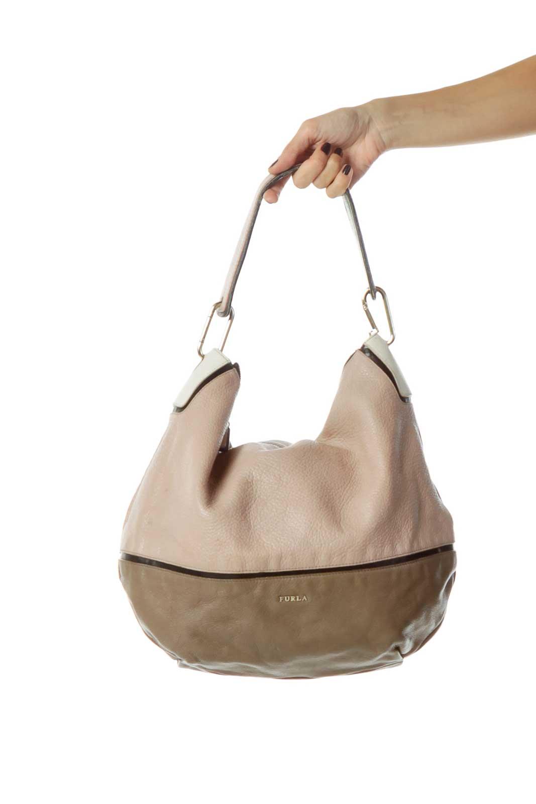 Brown Beige Leather Shoulder Bag Front