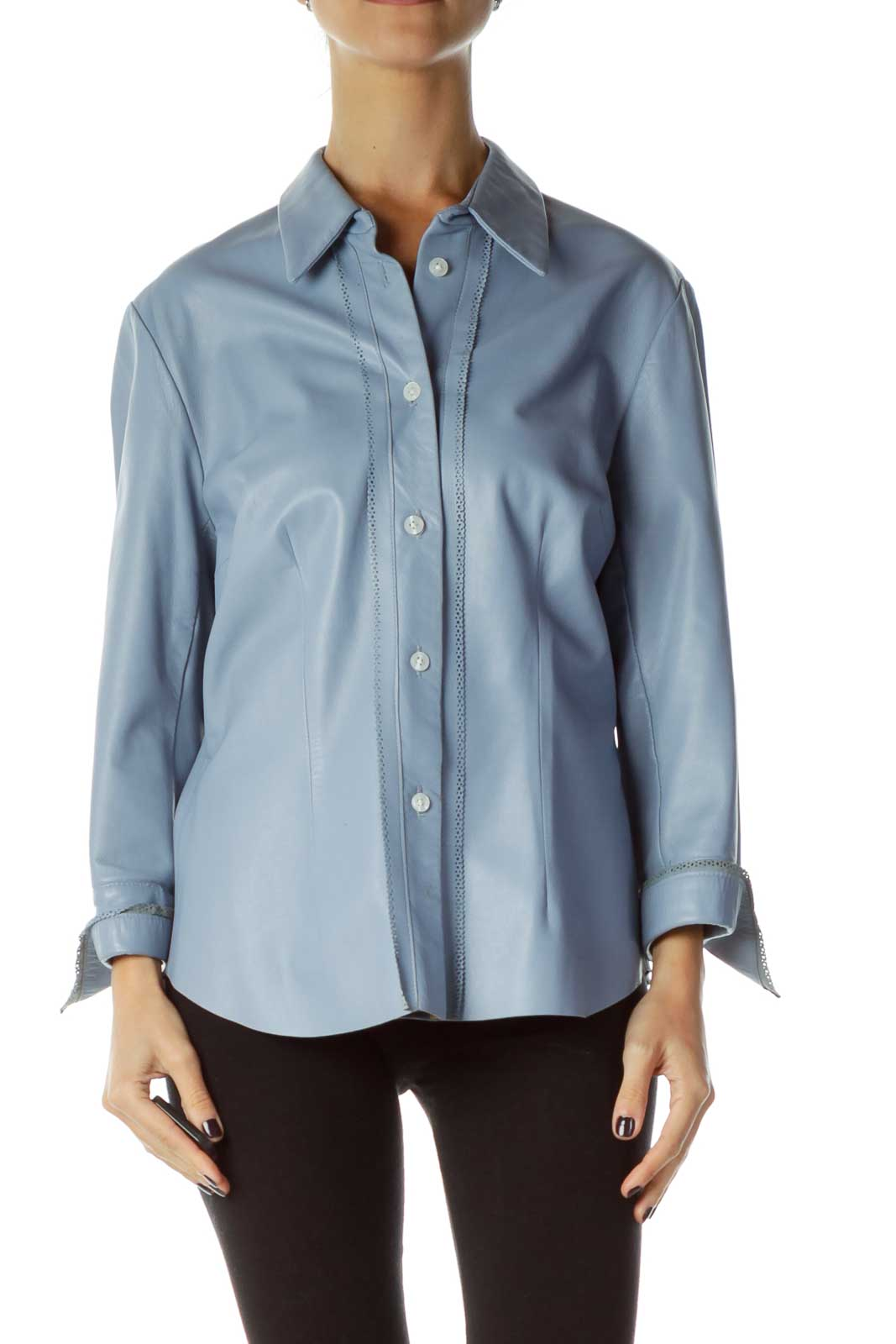 Blue Leather Shirt Front