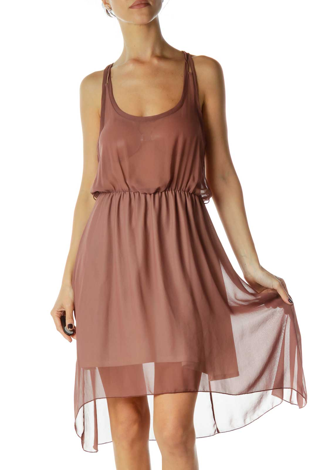 Brown Sheer Dress Front