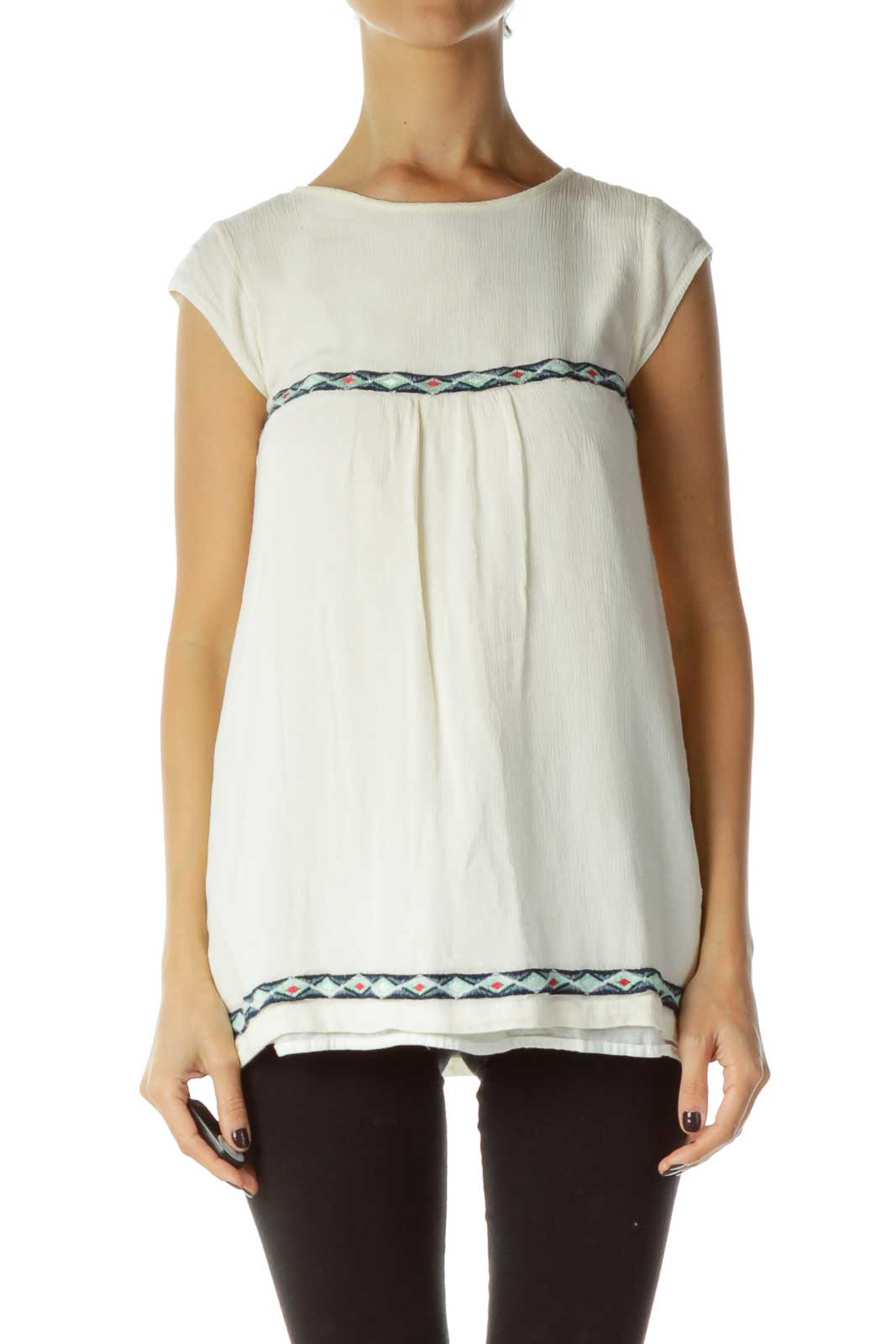 Cream Embroidered Tank Front
