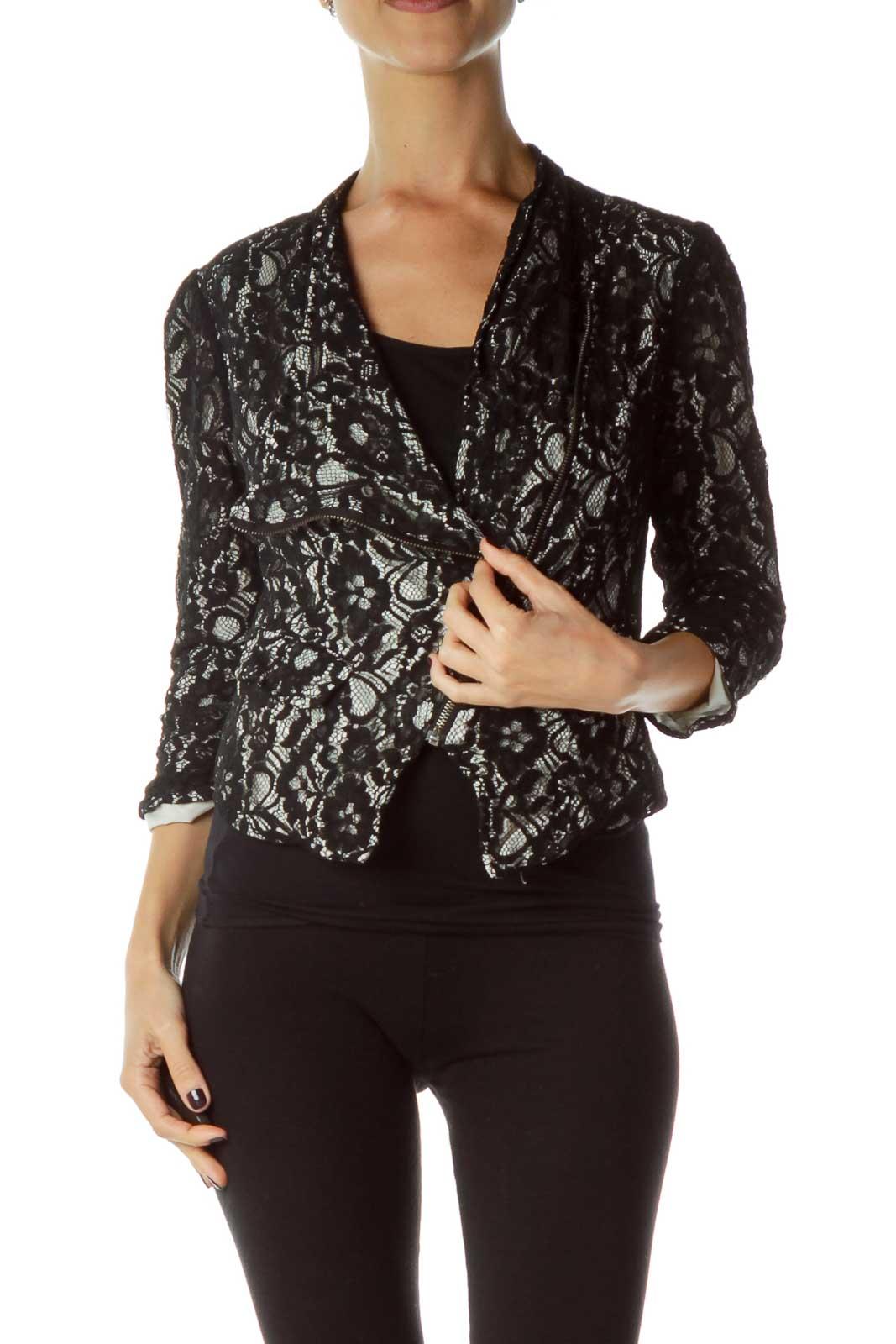 Black White Lace Zipper Jacket Front