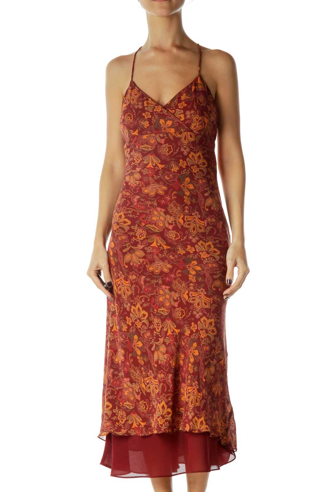 Burgundy Orange Floral Midi Silk Dress Front