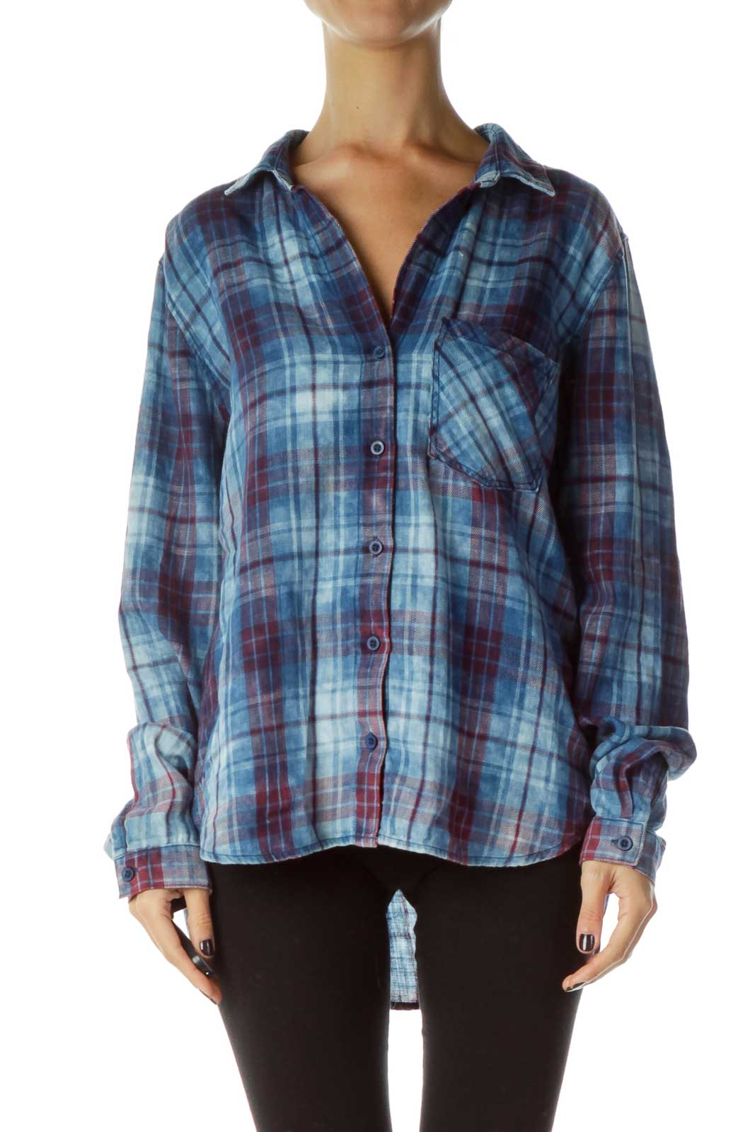 Blue Red Plaid Shirt Front