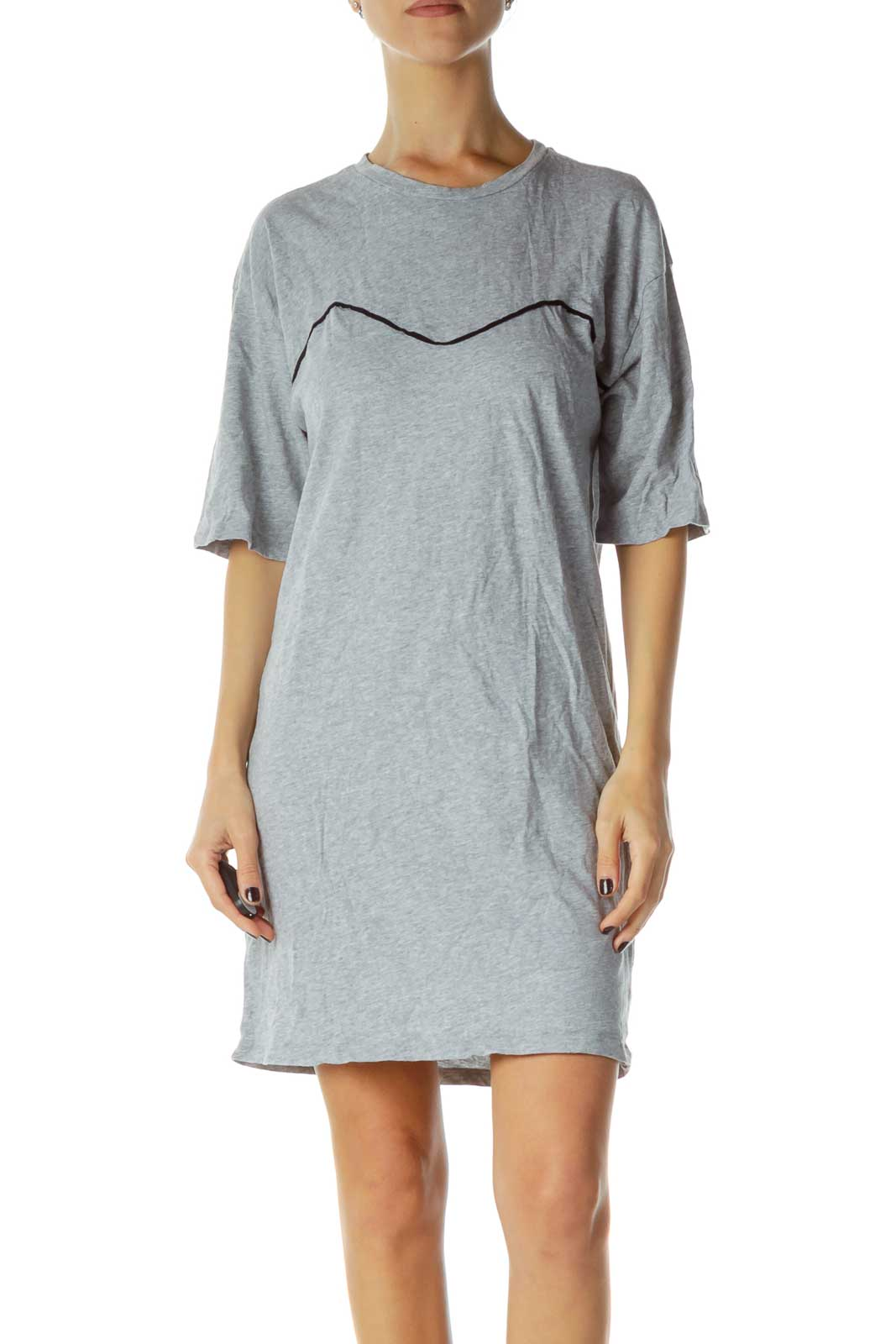 Gray Jersey-Knit Dress Front