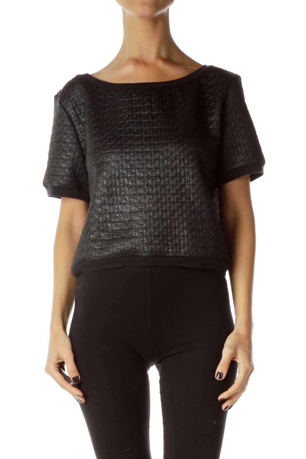 Black Textured Short Sleeve Sweatshrit Front