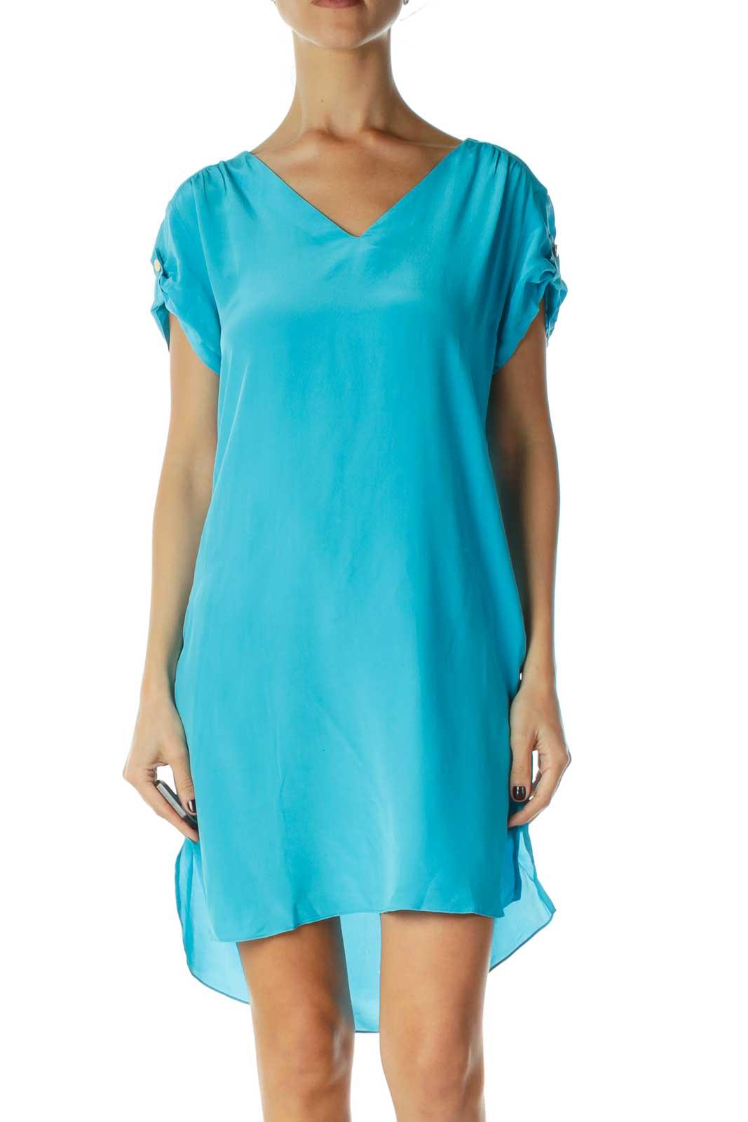 Blue V-Neck Silk Shift Dress Front