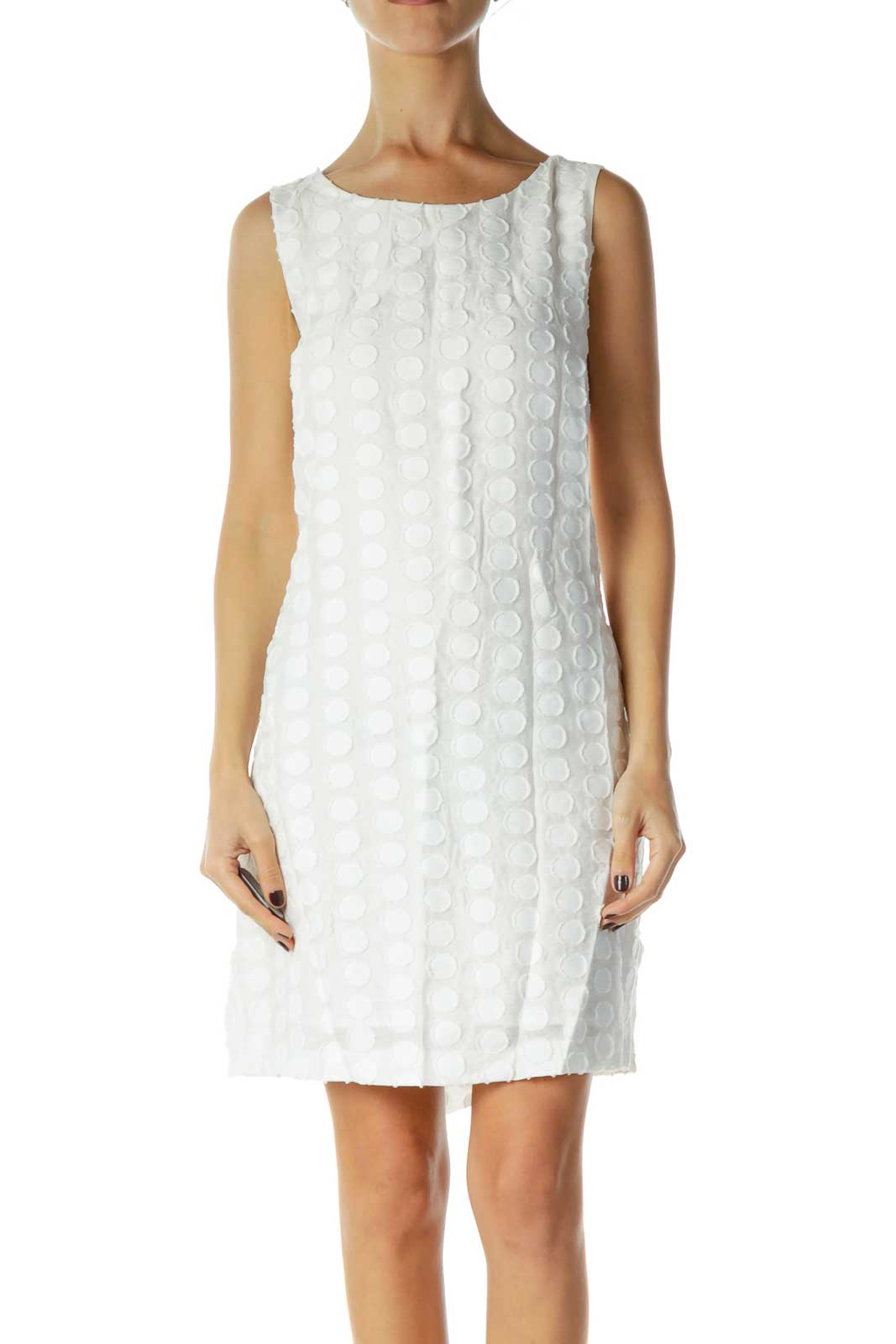 White Textured Day Dress Front