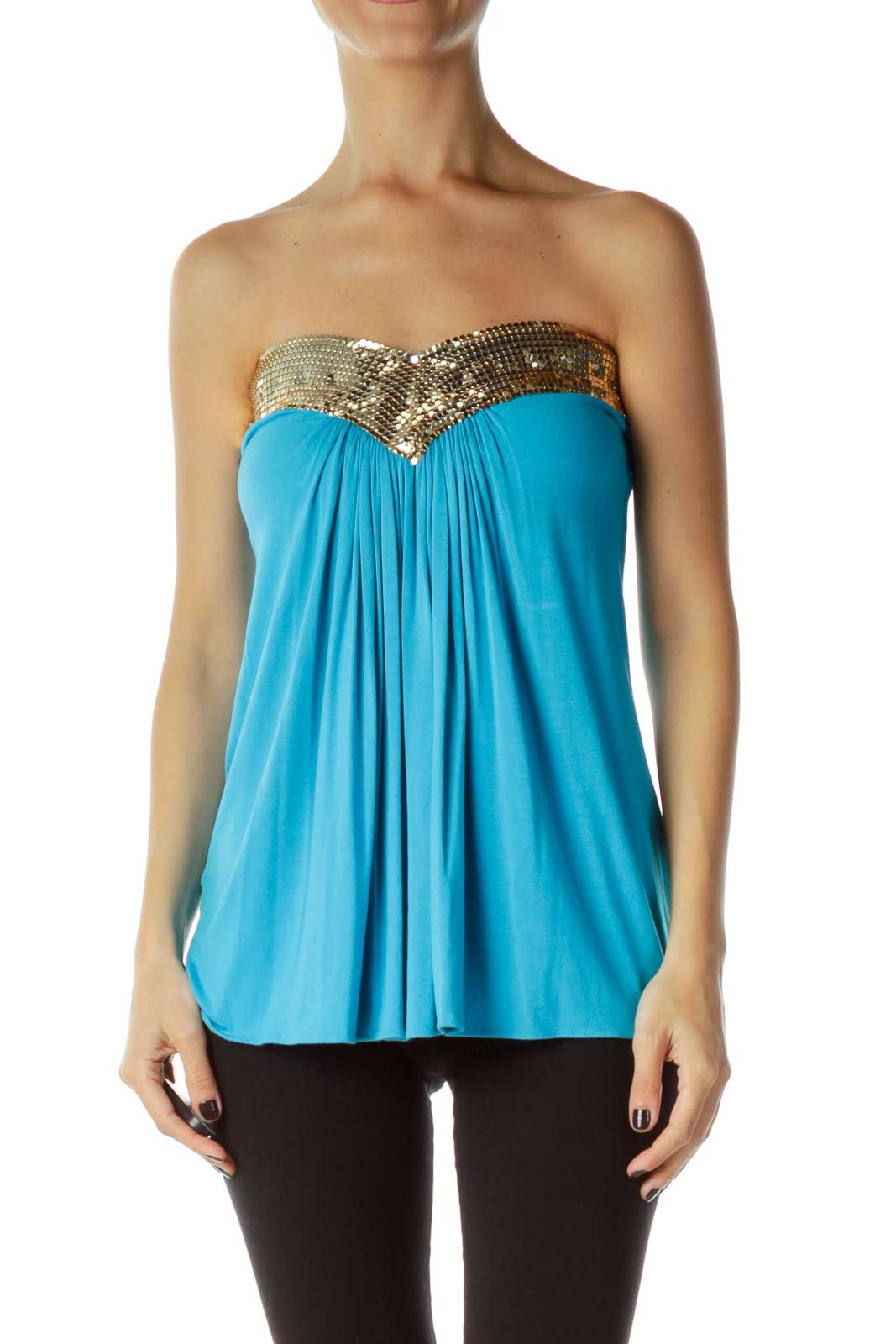 Blue Gold Metallic Tube Top Front