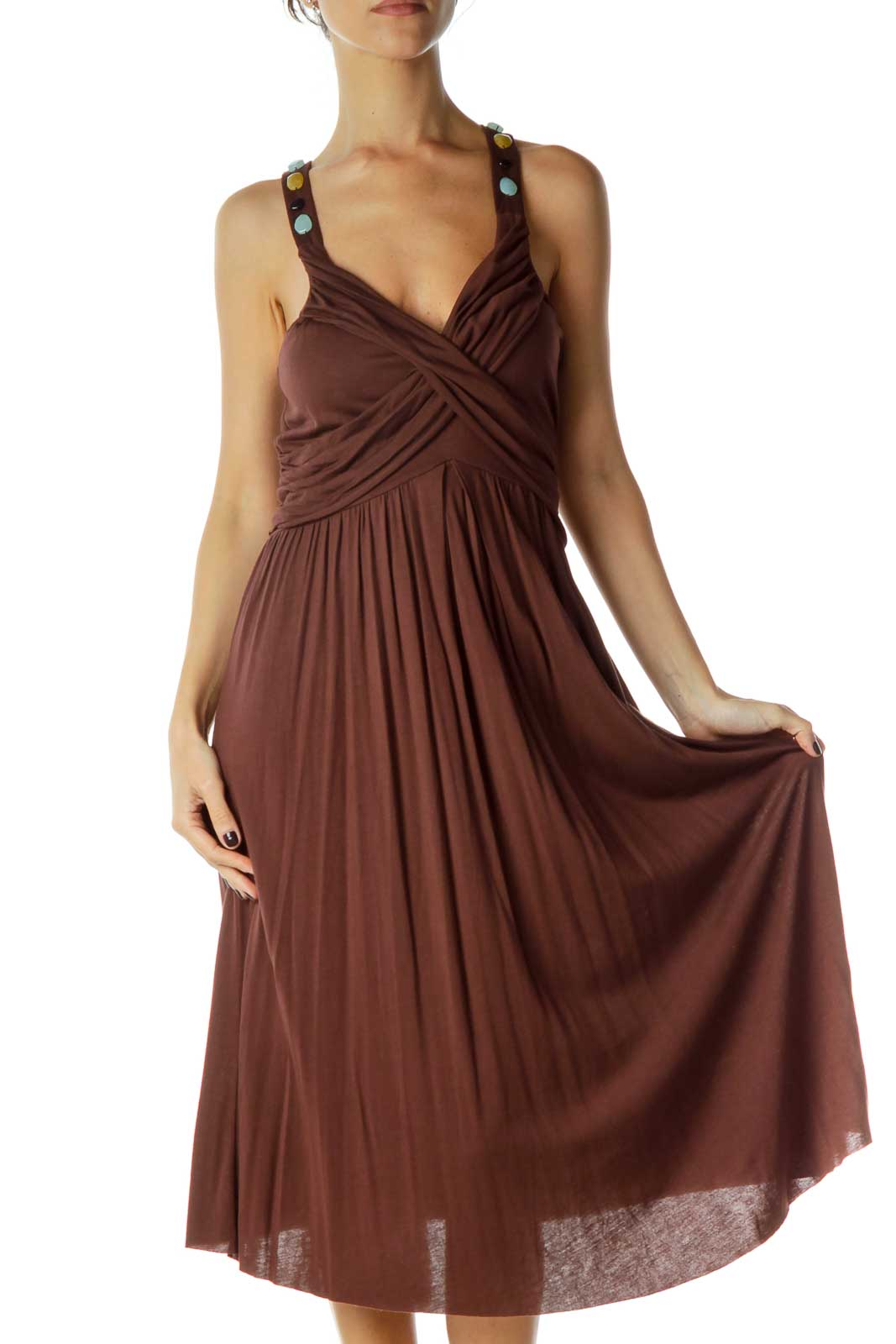 Brown Beaded V-Neck Day Dress Front
