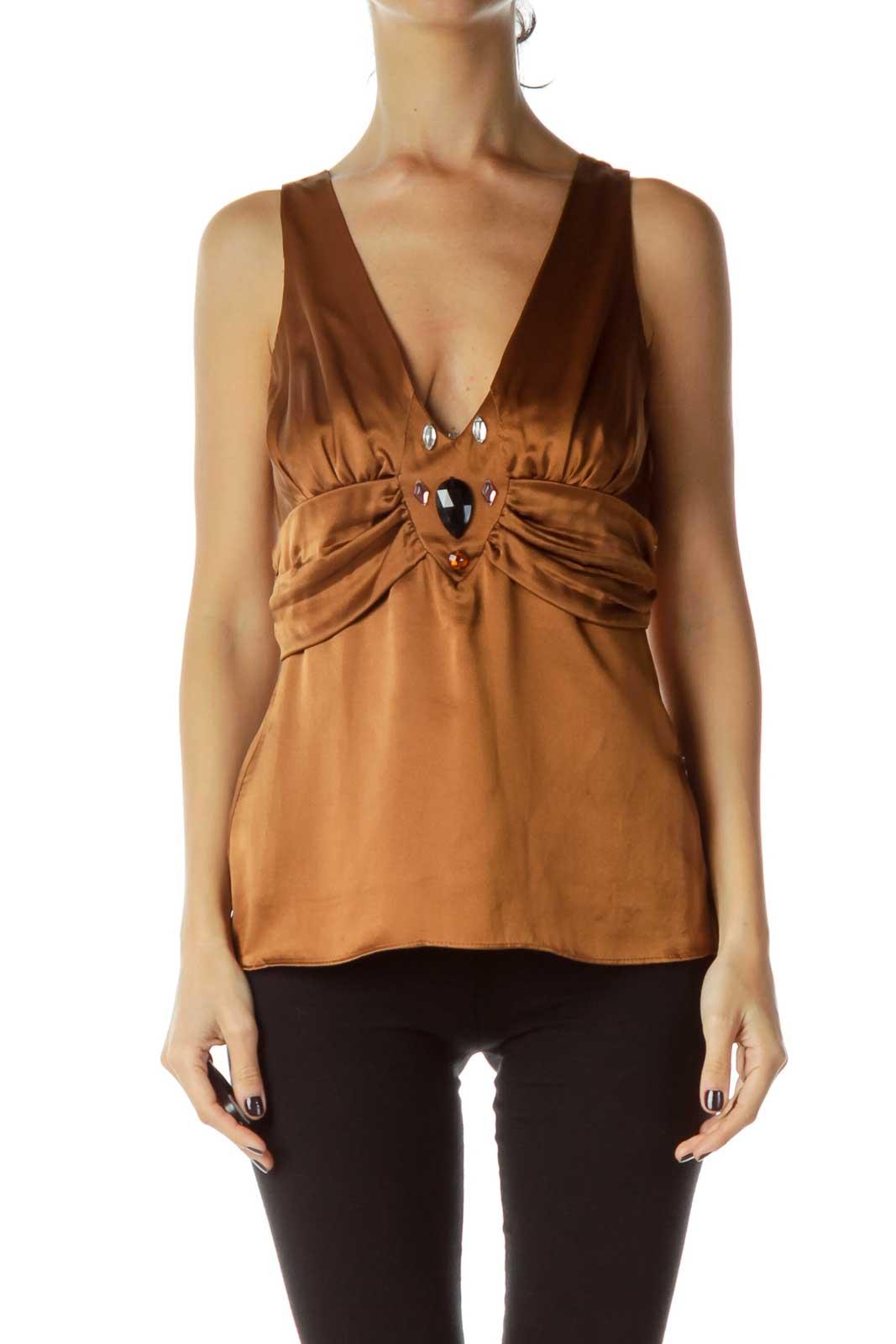 Brown Silk Halter Blouse Front