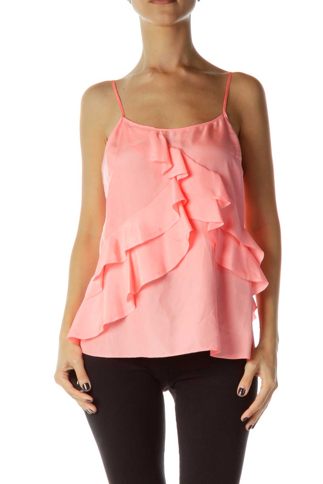 Pink Ruffled Silk Top Front