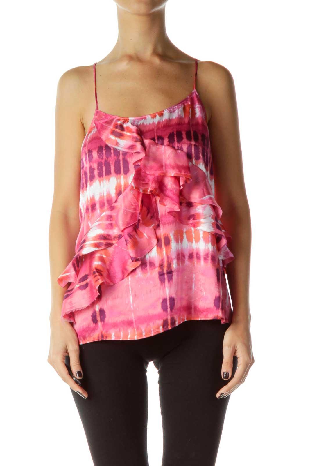 Pink Print Ruffled Silk Blouse Front