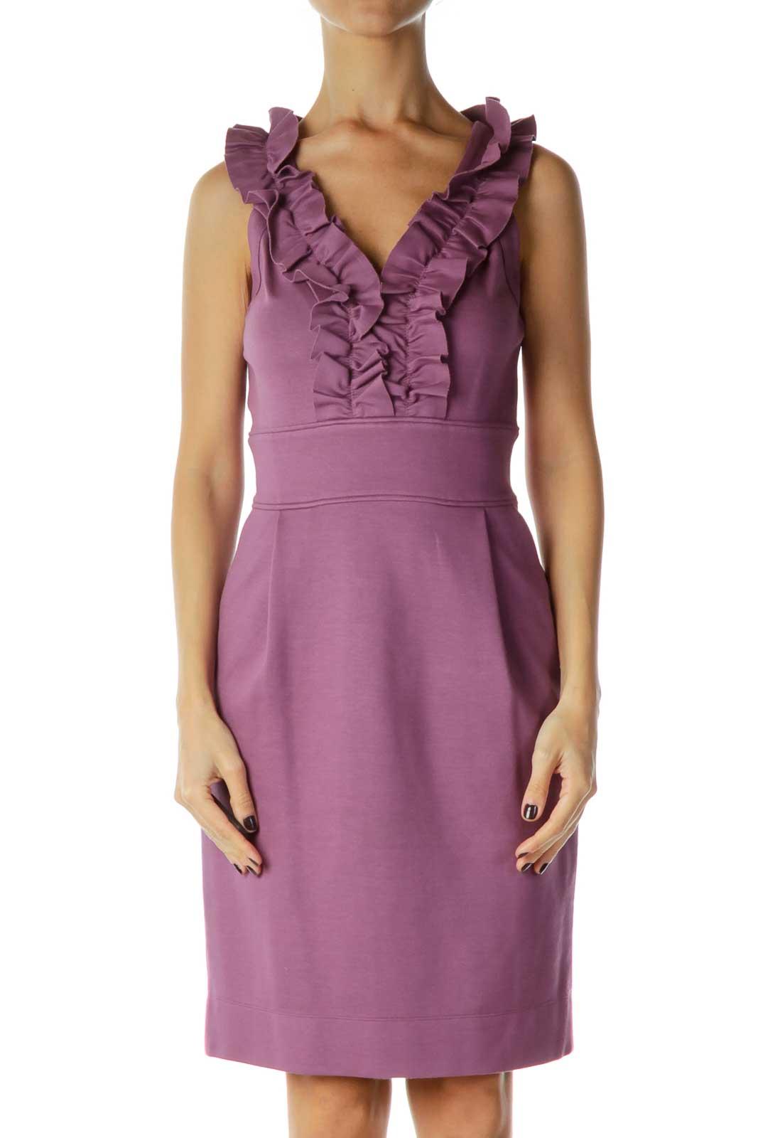 Purple Ruffled Work Dress Front