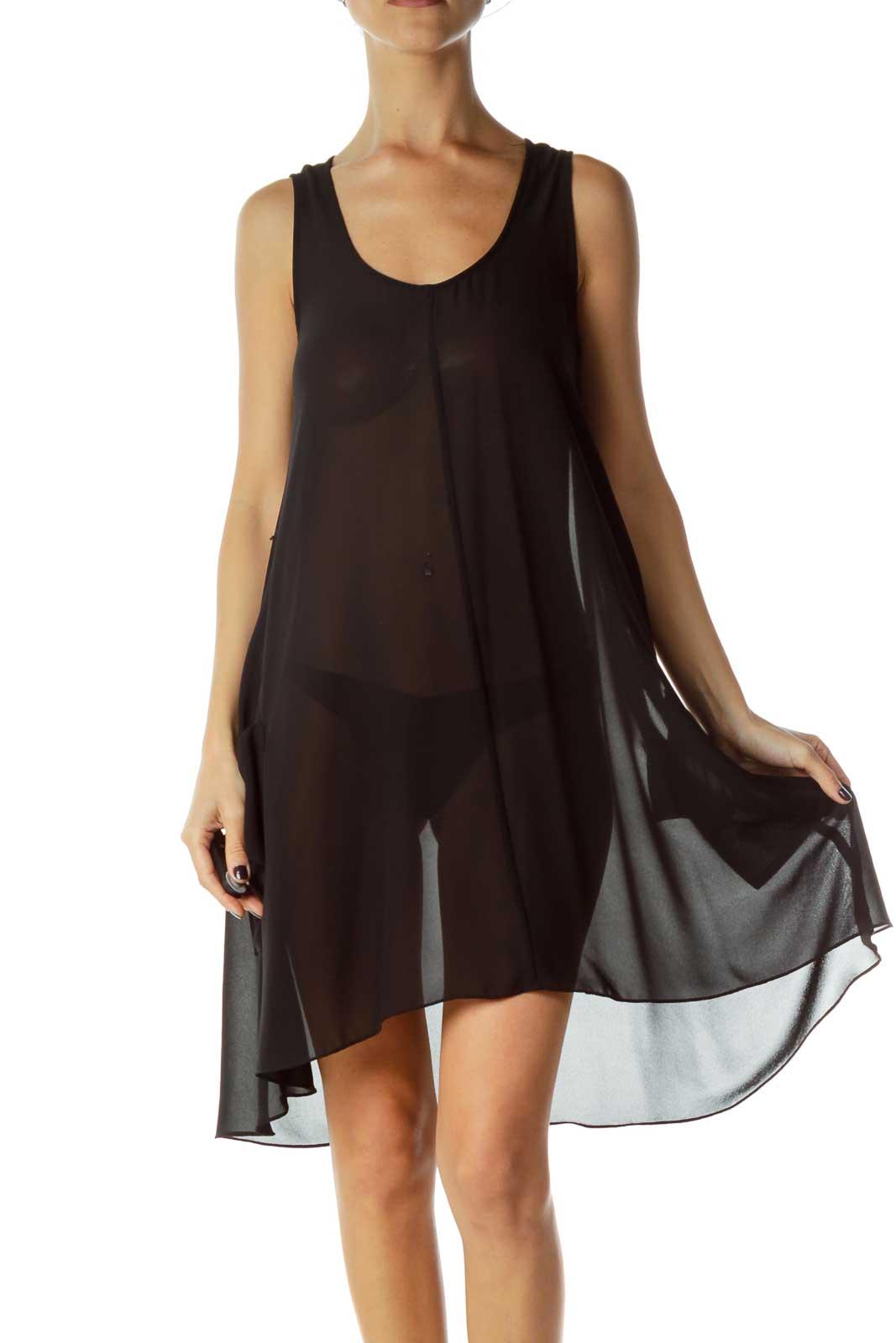 Black Sheer Sleeveless Dress Front
