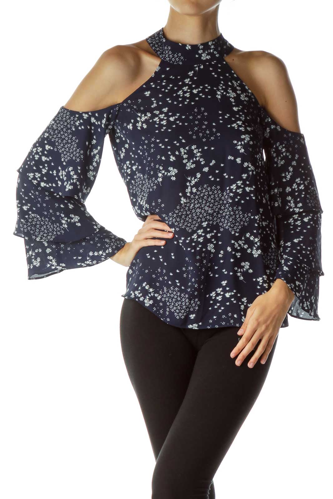 Blue White Off the Shoulder Bell Sleeve Blouse Front